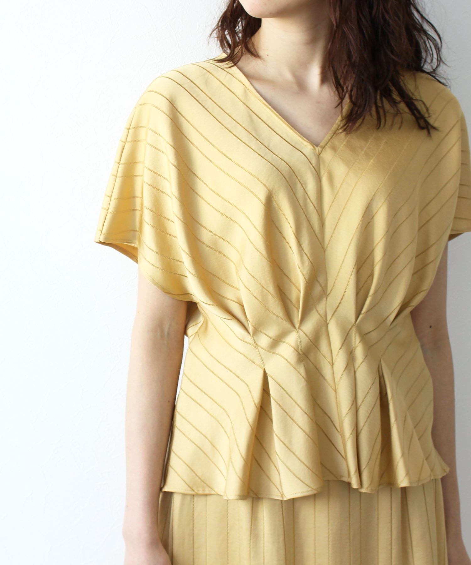 <B7>satin stripe Jacquard v/n blouse