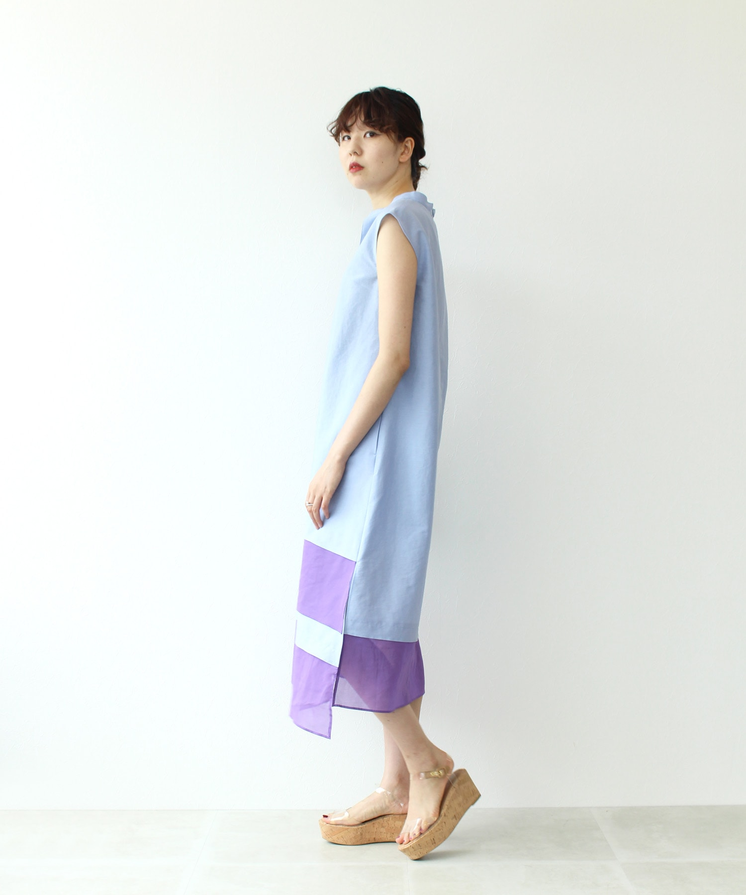 <B7>stand collar asymmetry onepiece