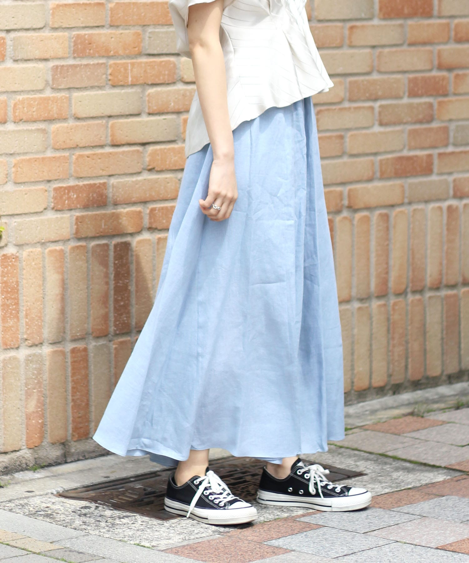 <B7>french linen circular skirt