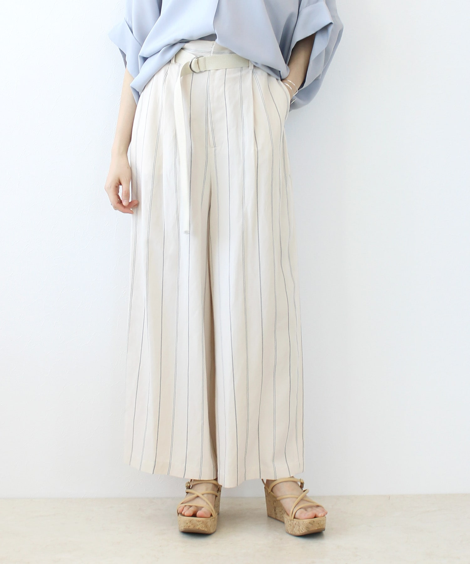 <B7>stripe belt wide pants