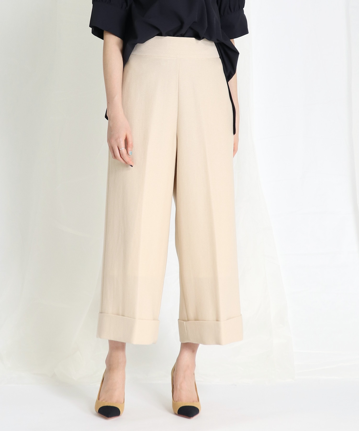 <B7>mesh cropped wide pants