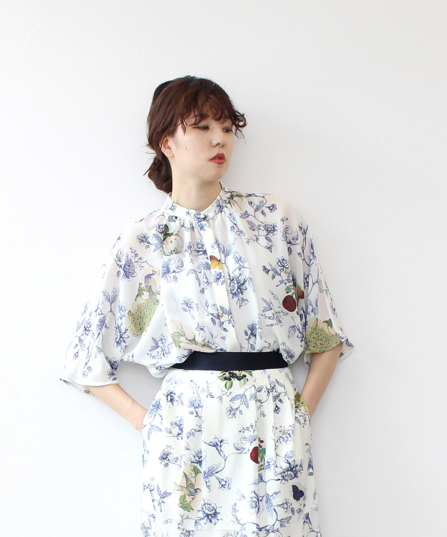 <PEELSLOWLY>flower collage blouse