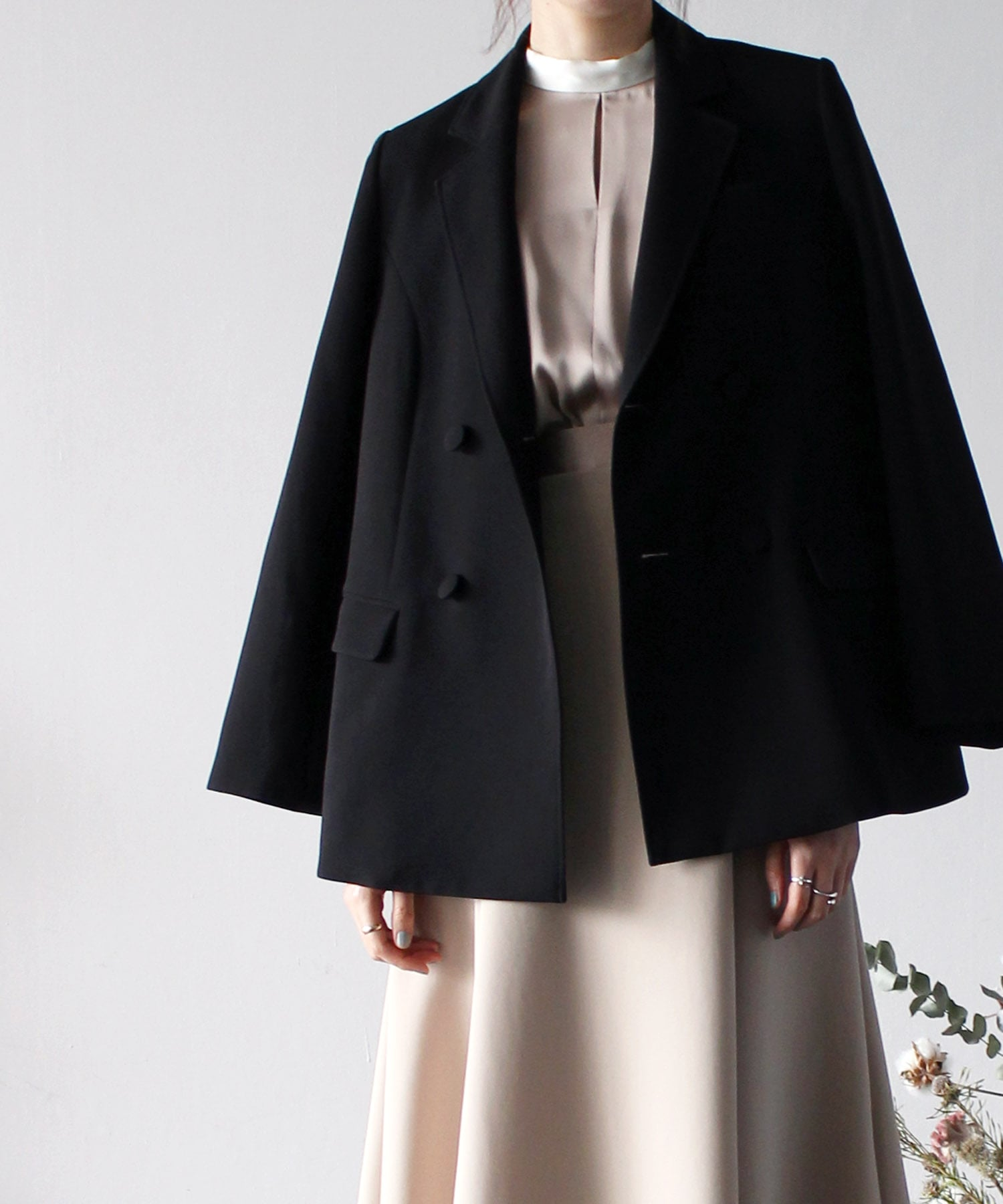 <PEELSLORY>formal black double jacket