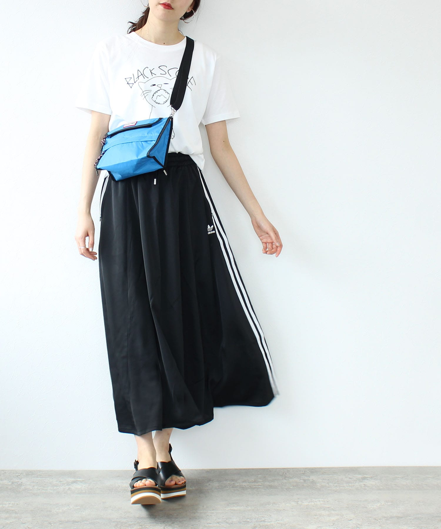 <adidas originals>long satin skirt