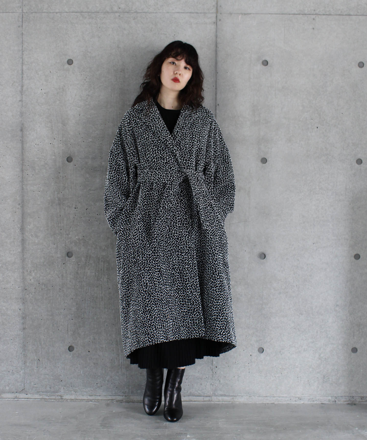 <Hart>tweed long gown coat