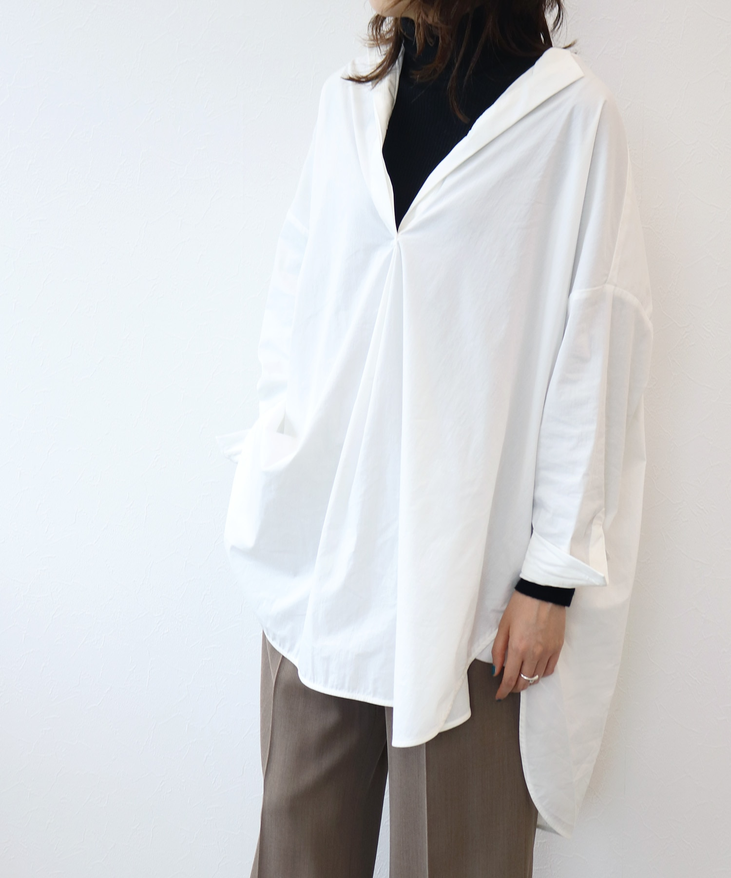 <Sugar Rose>henley neck big shirt