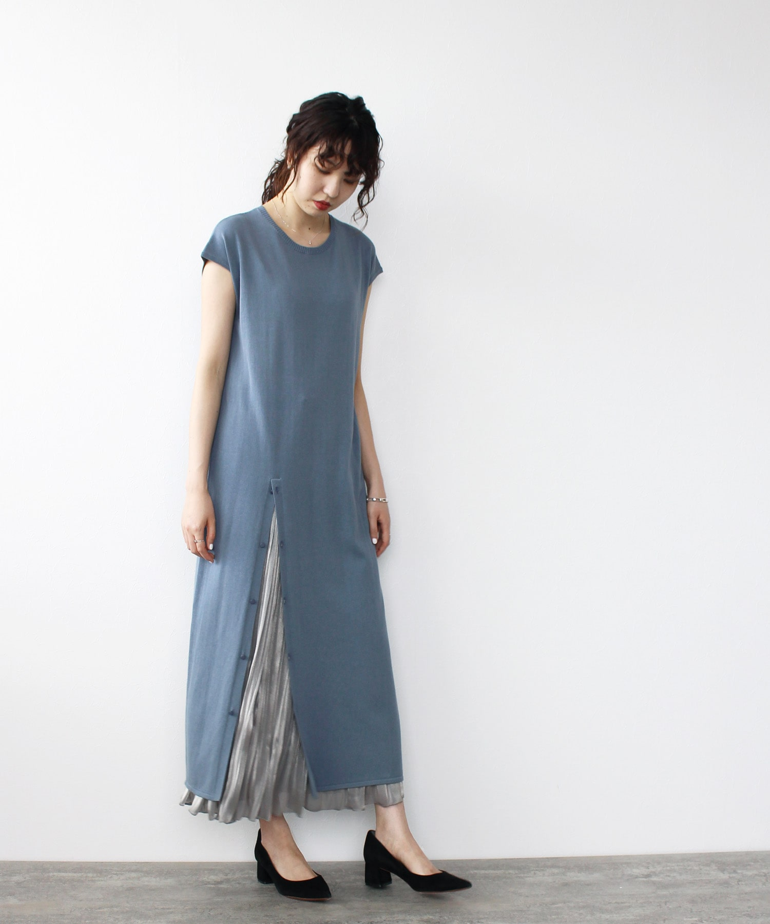 <Sugar Rose>slit layered long knit dress