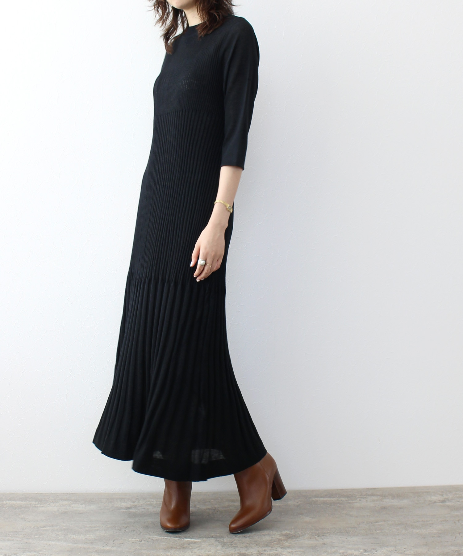 <Sugar Rose>rib design knit dress
