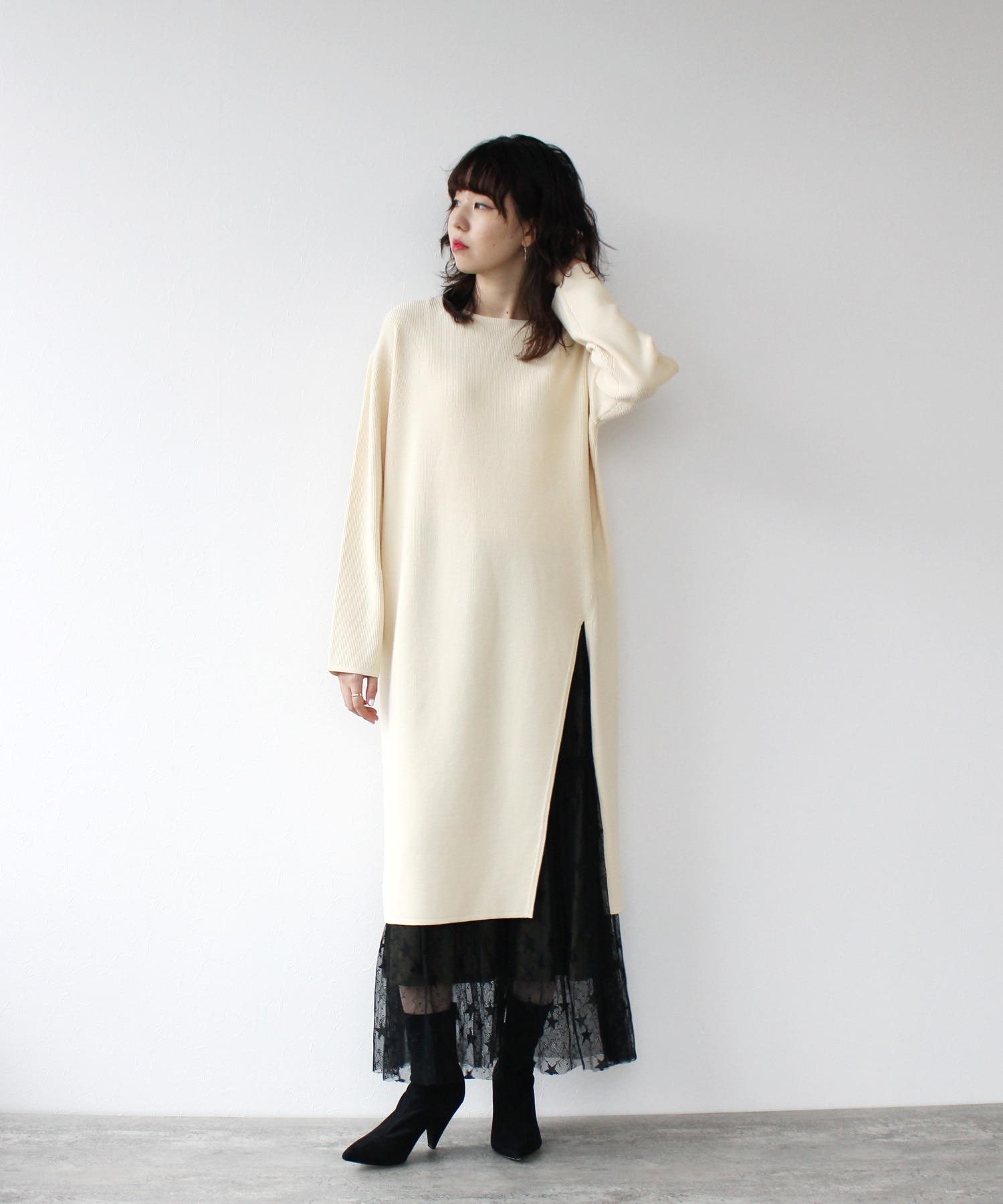 <Sugar Rose>thermal slit knit dress