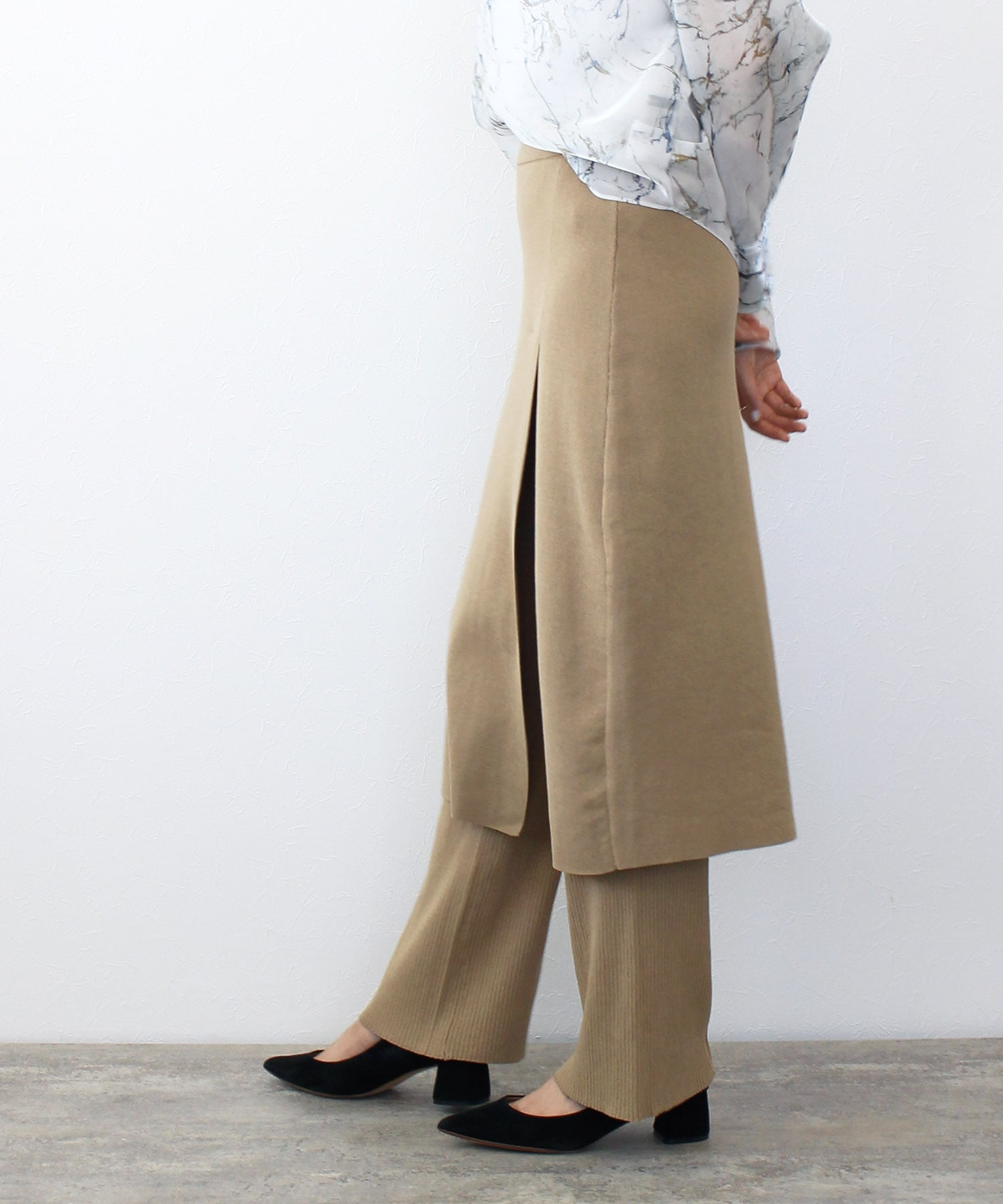 <Sugar Rose>layered skirt knit pants