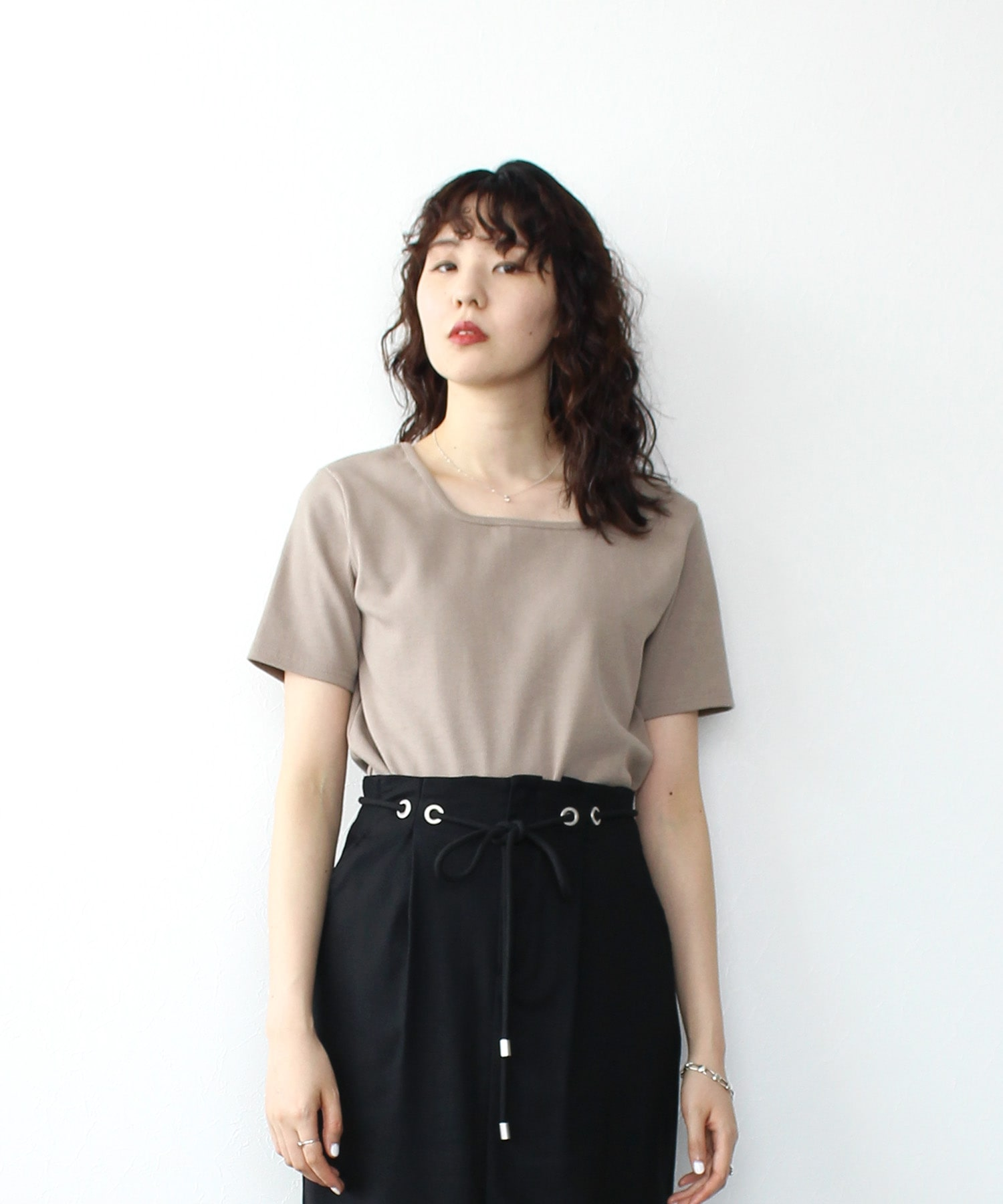 <Sugar Rose>square neck 2way tops