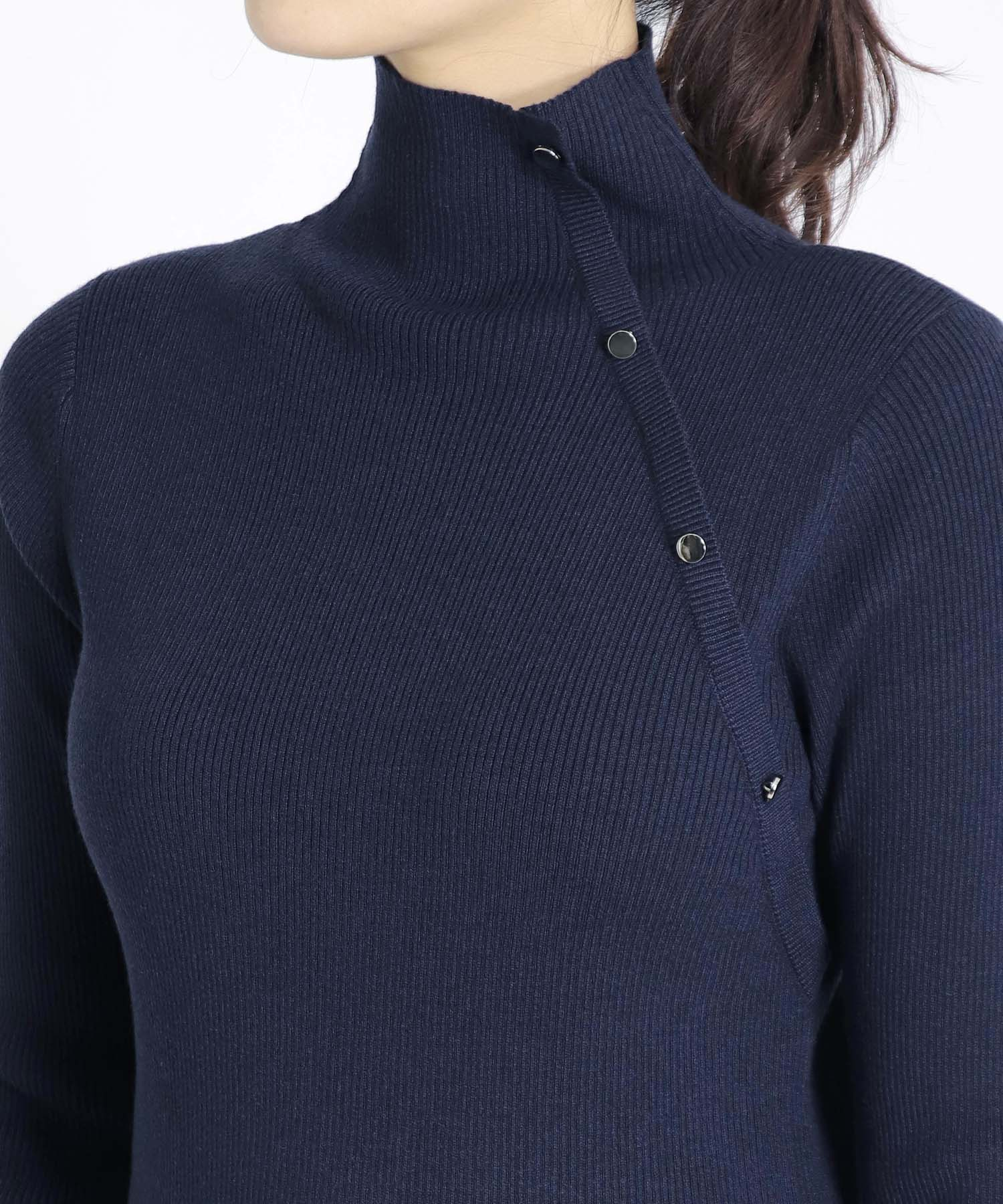 <Sugar Rose>accent button rib highneck