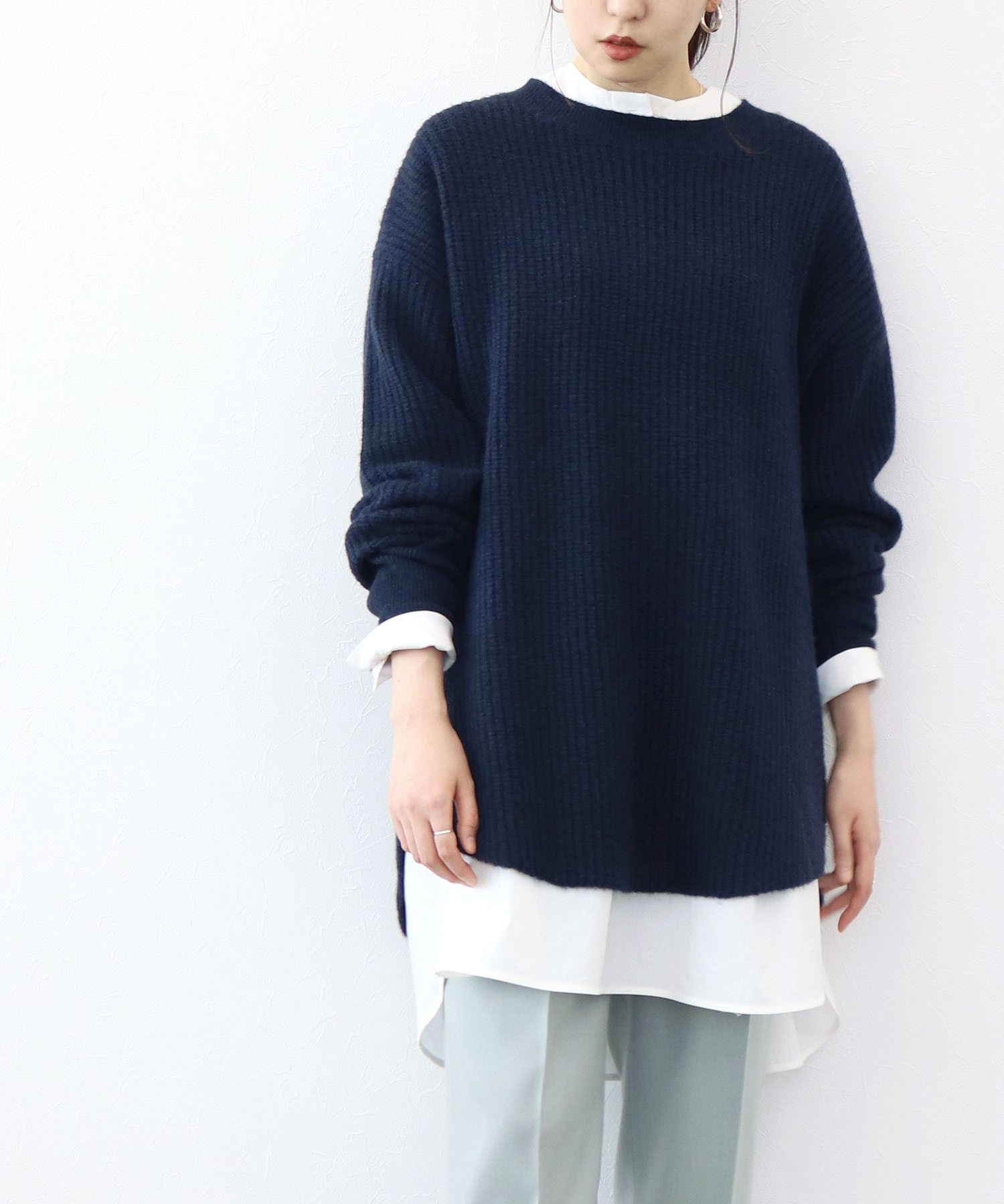 <Sugar Rose>over size thermal knit Pull