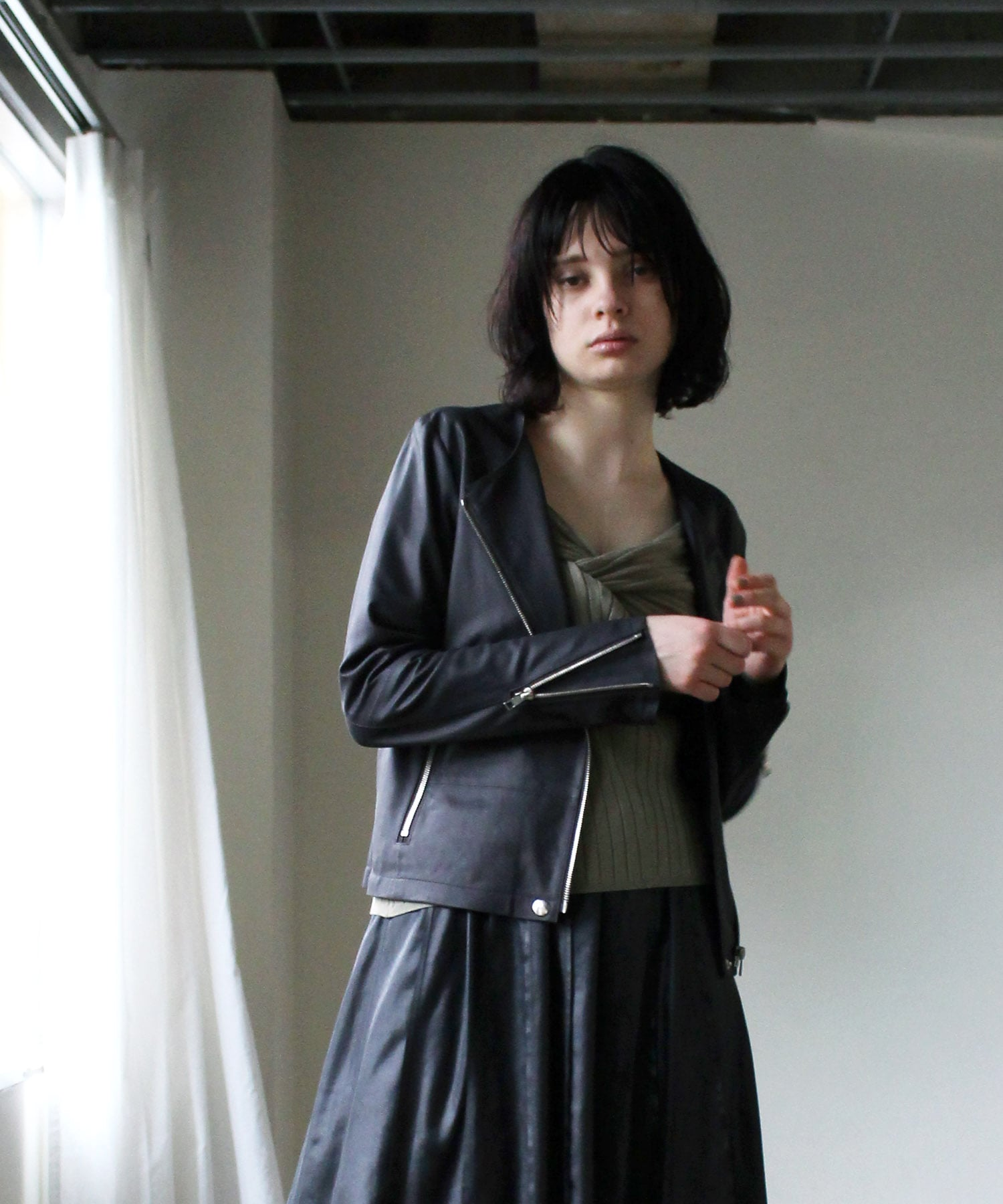<RAWTUS>NO-COLLAR BIKER JACKET