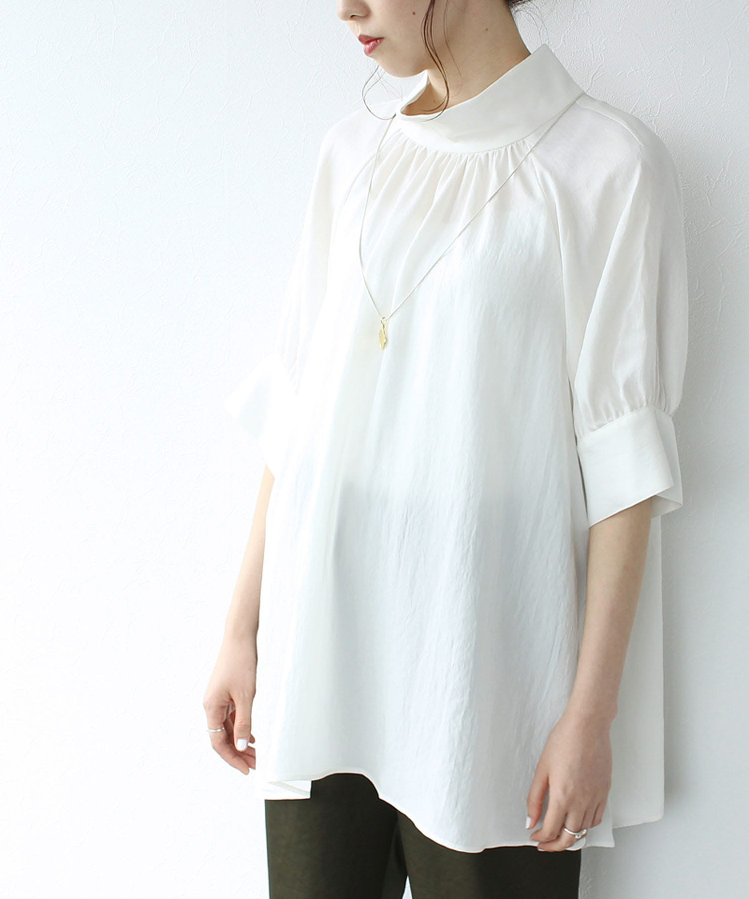 <B7>acetate 2way blouse