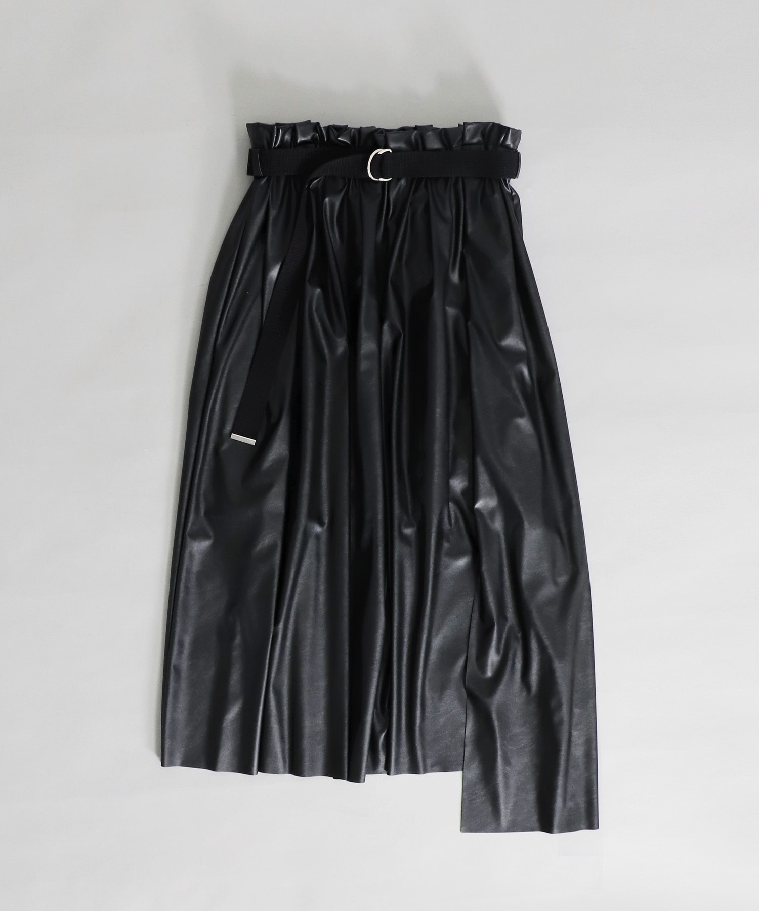<B7>eco leather asymetry skirt