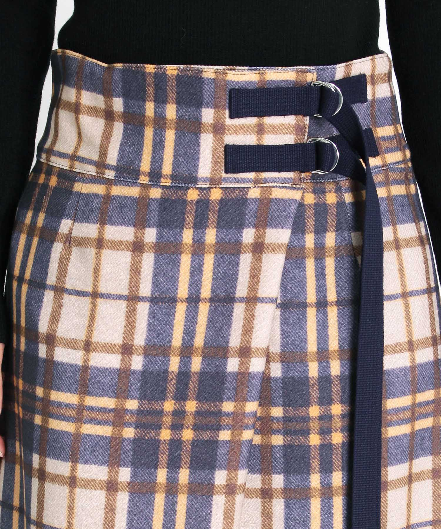 <B7>color check belt skirt