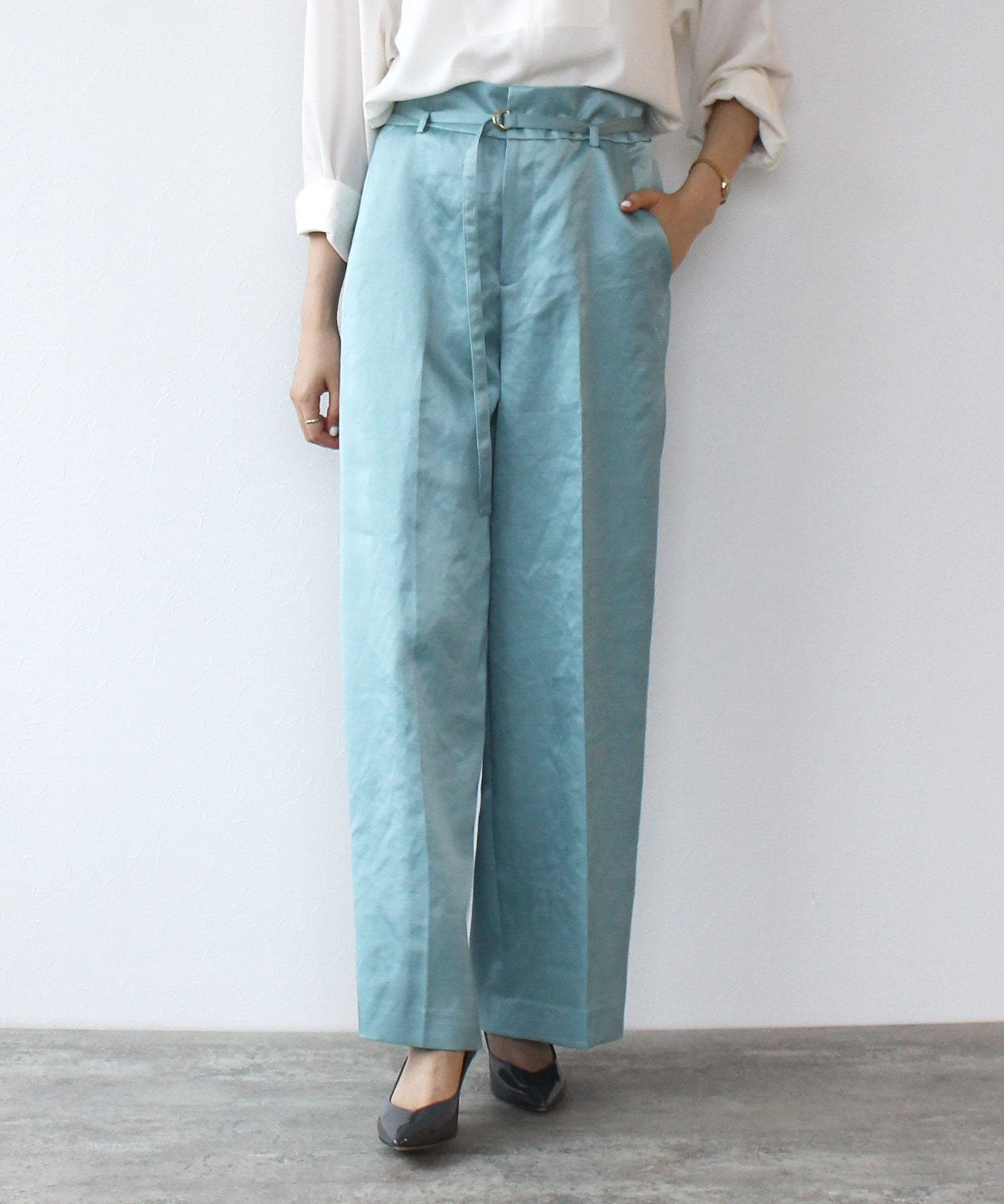 <B7>slab mix pants
