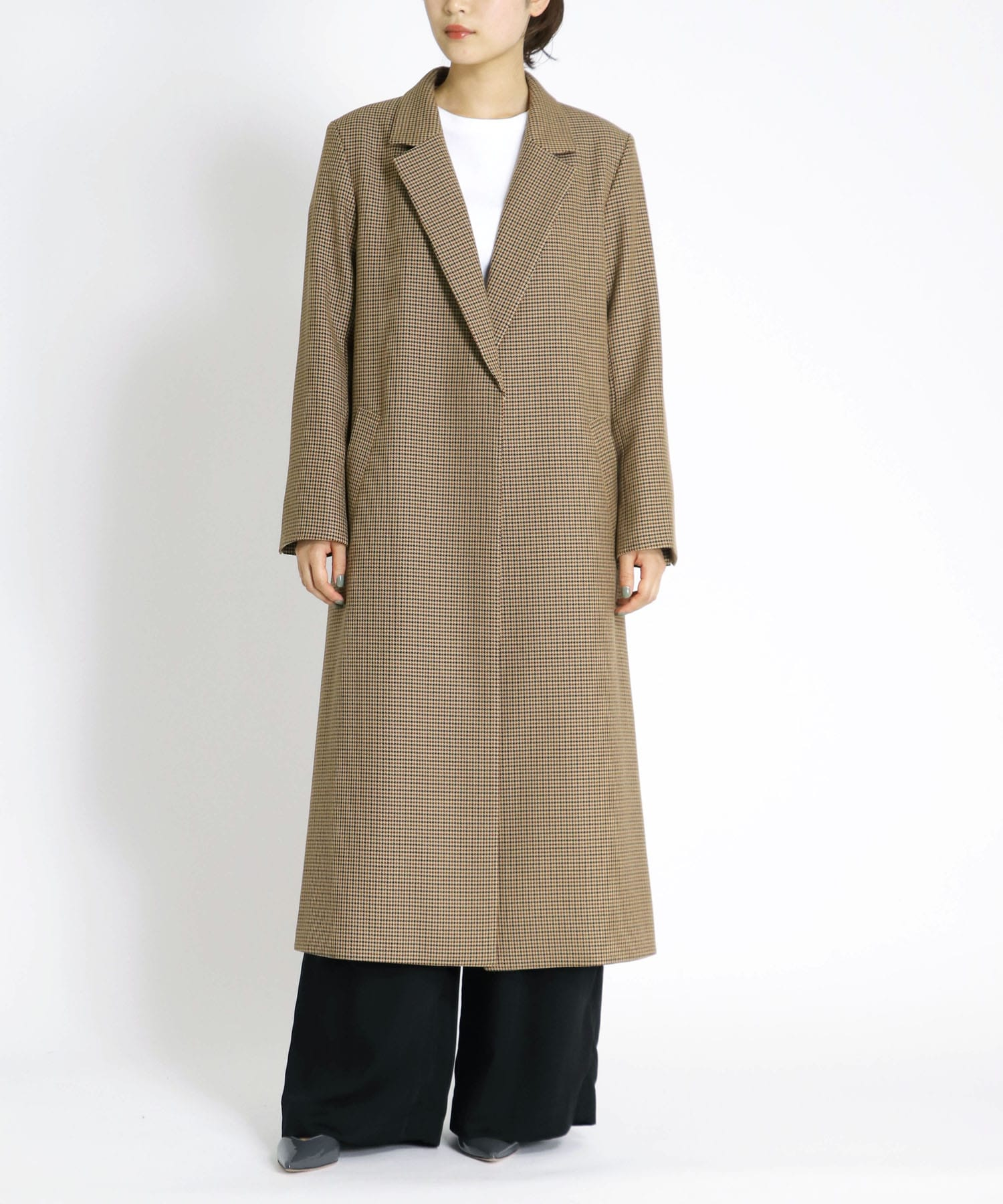 <B7>houndstooth long jacket