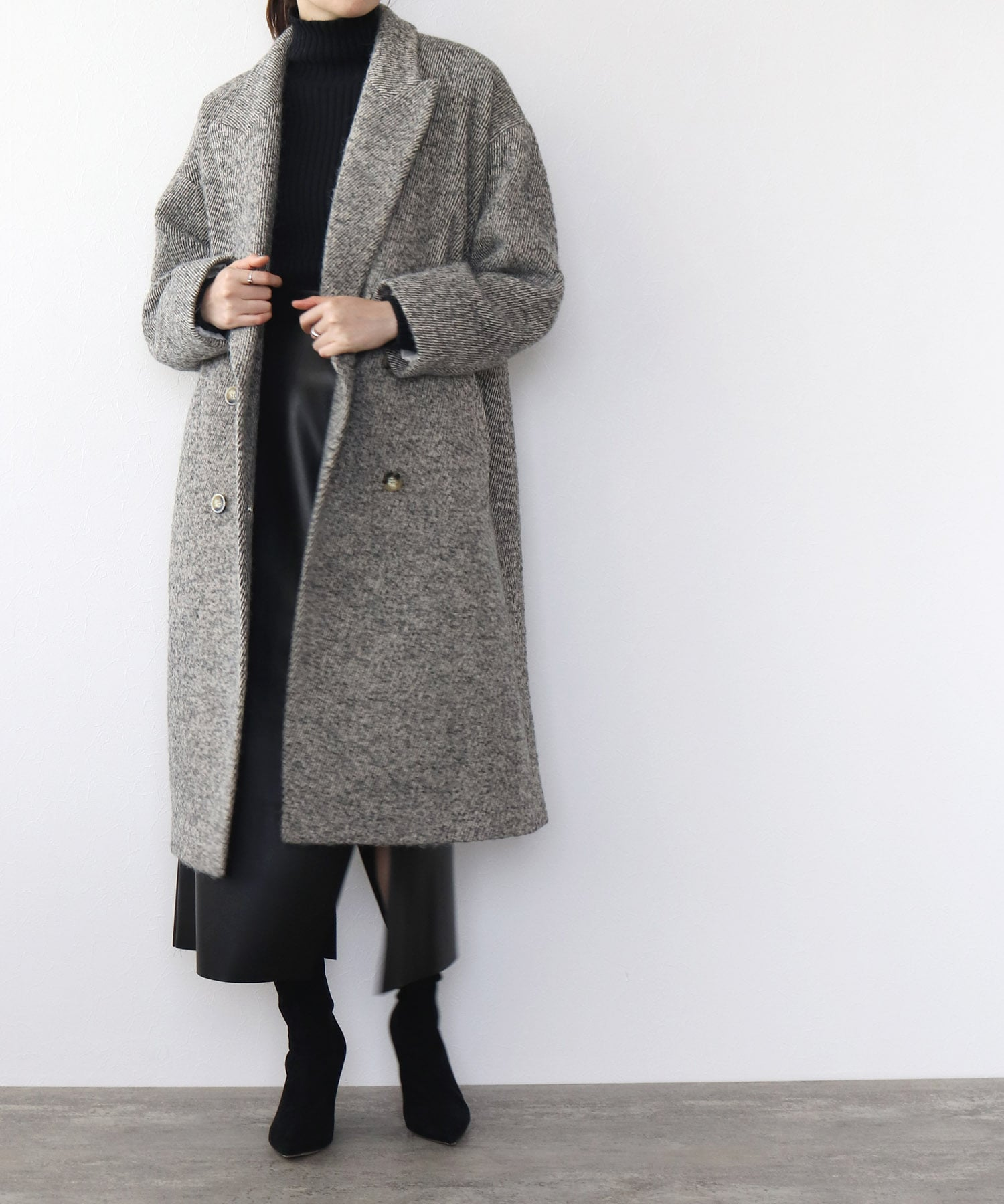 <B7>itary loop tweed coat