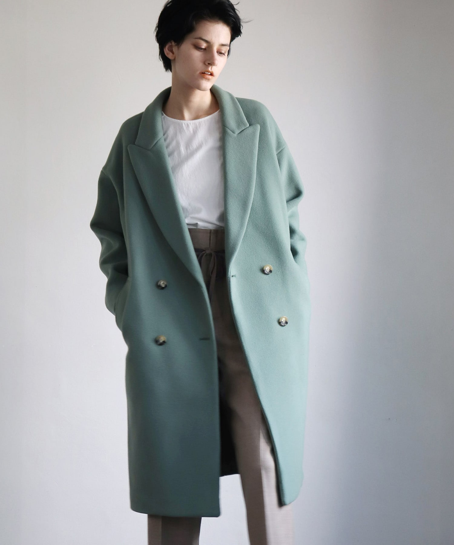 <B7>itary wool cocoon coat