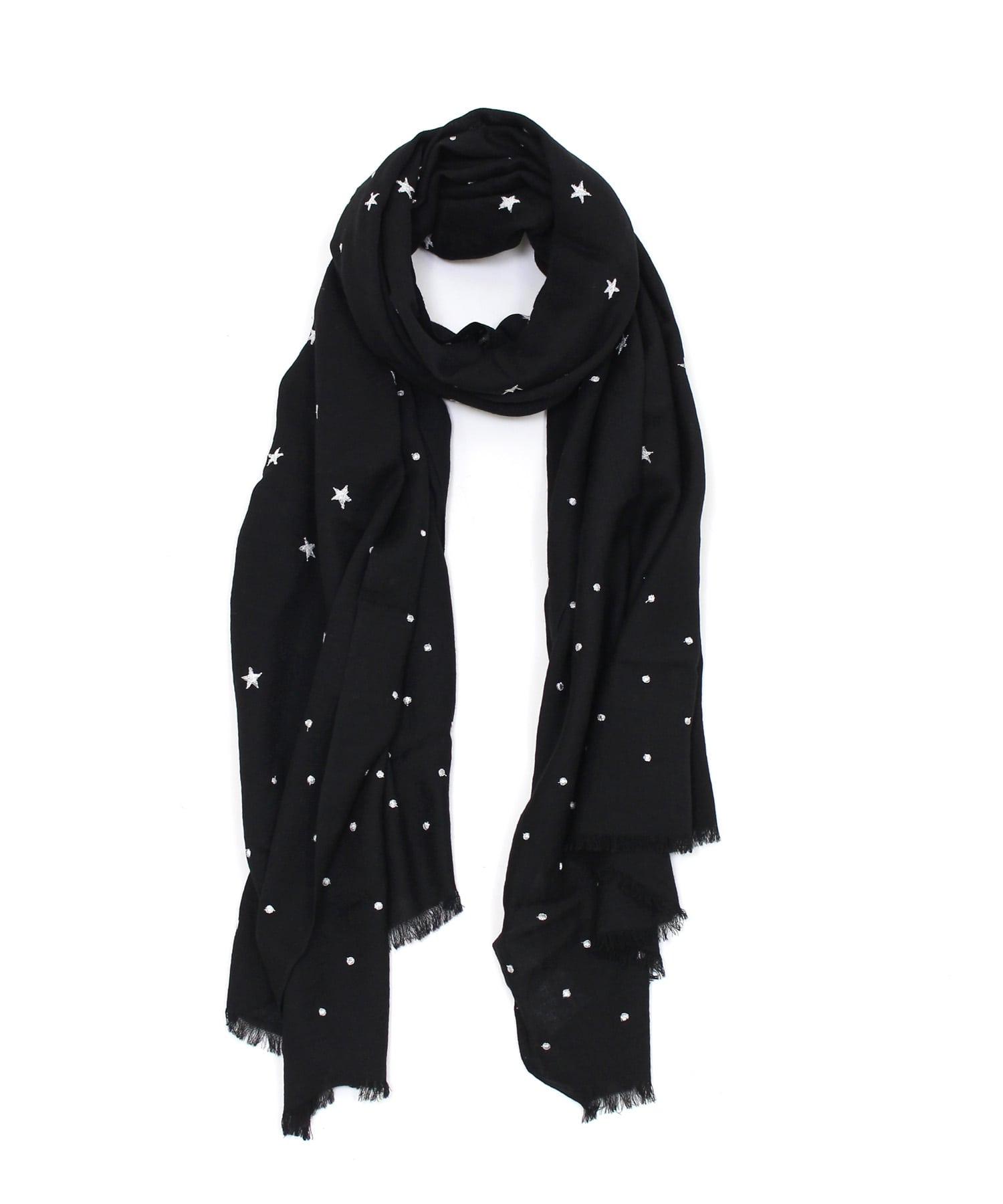 <CITRUS>small star×dot fringe stole