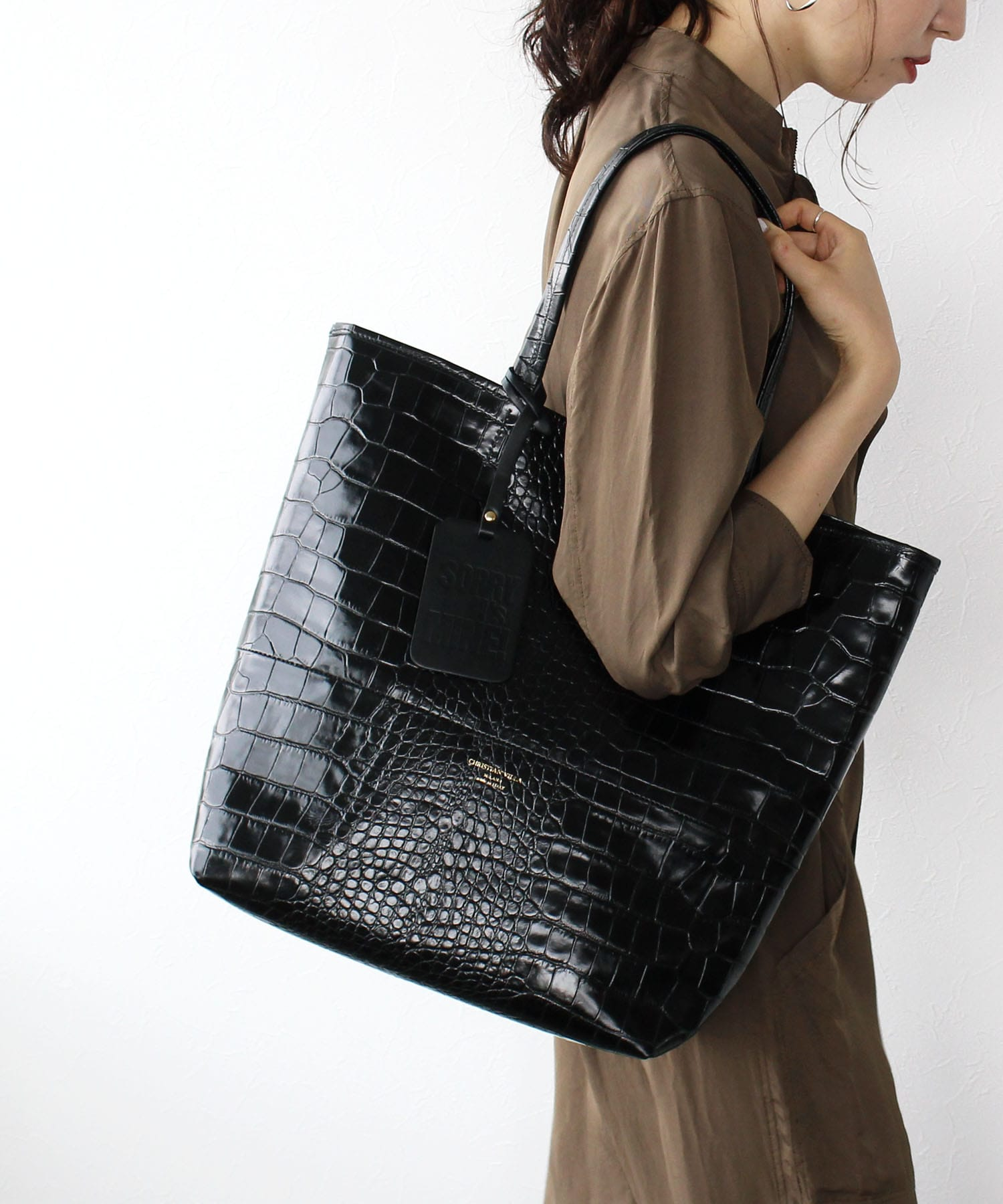 <CHRISTIAN VILLA>leather big tote bag