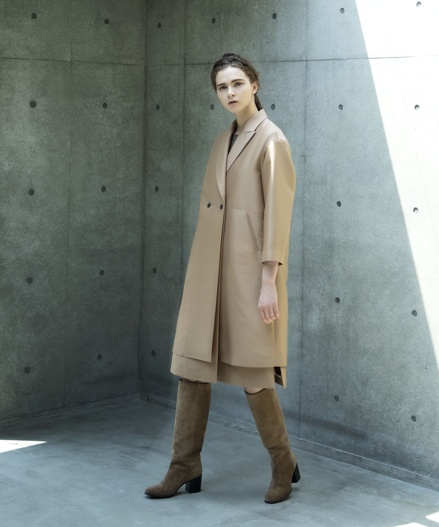<STUMBLY>new layered combination gilet&coat