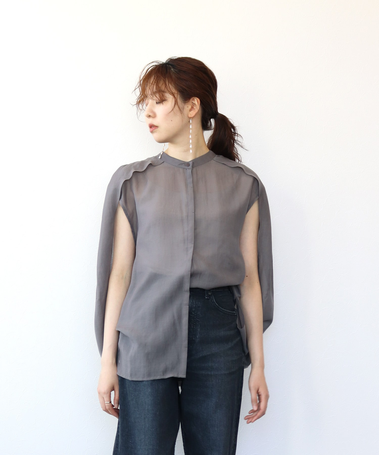 <Sugar Rose>sheer poncho blouse