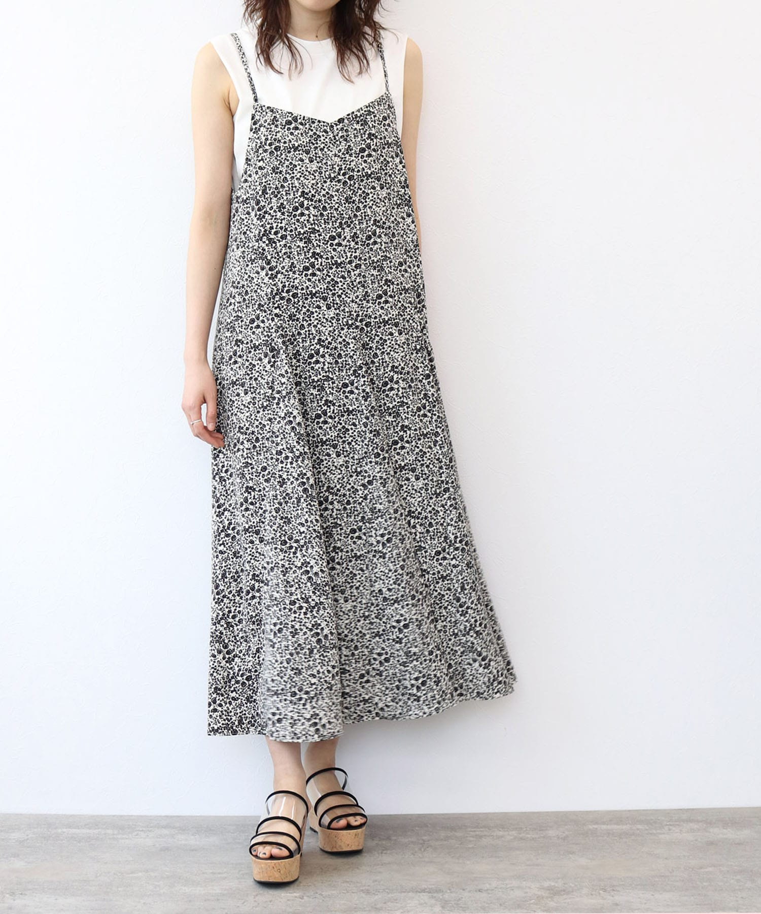 <Sugar Rose>flower print circular cami dress