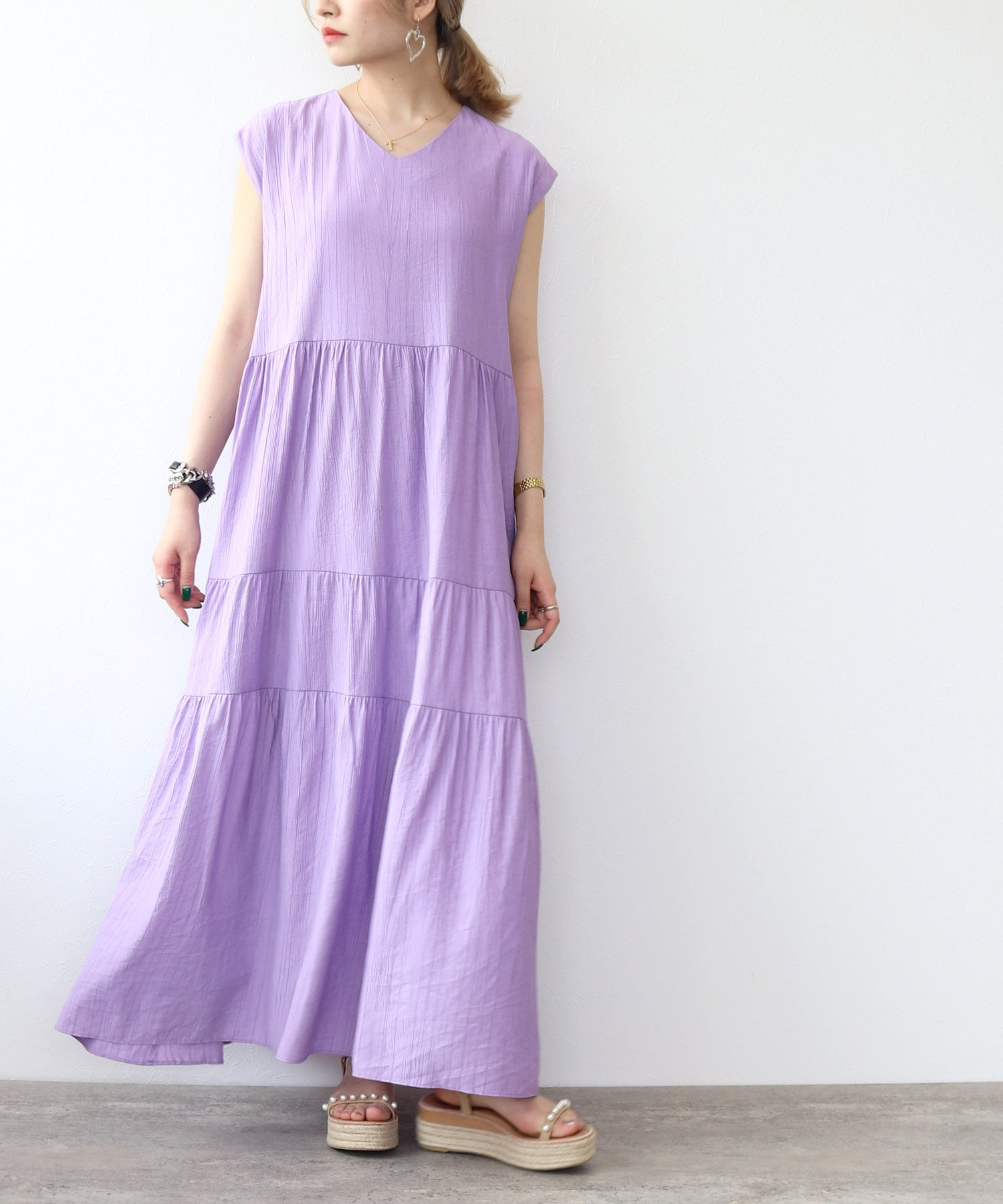 <Sugar Rose>random pleats tiered dress