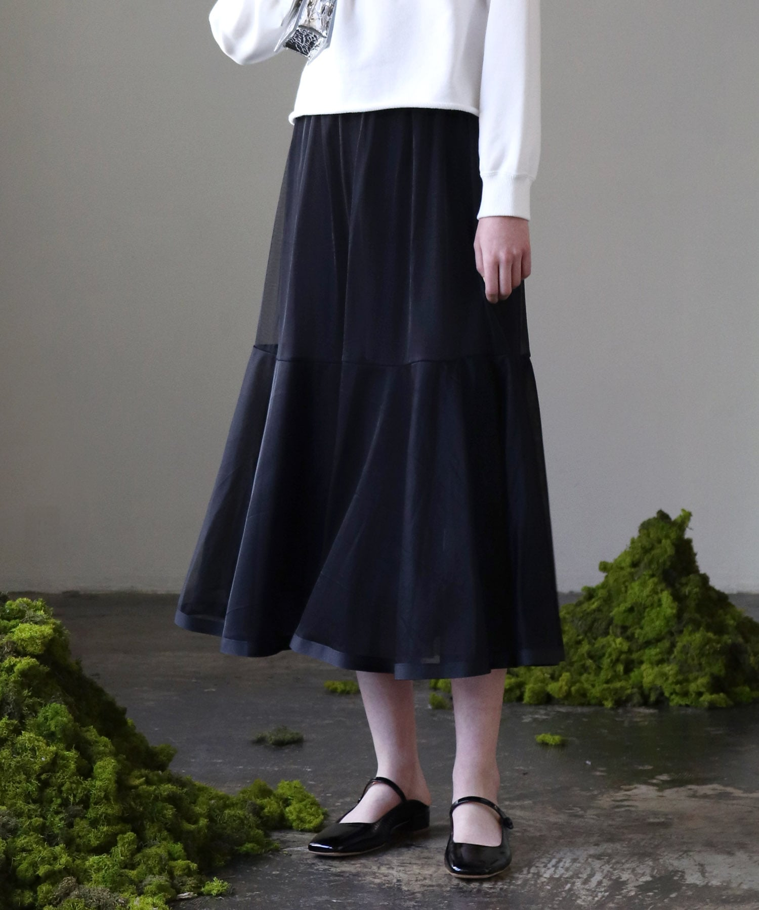 <Sugar Rose>reversible flare tulle skirt