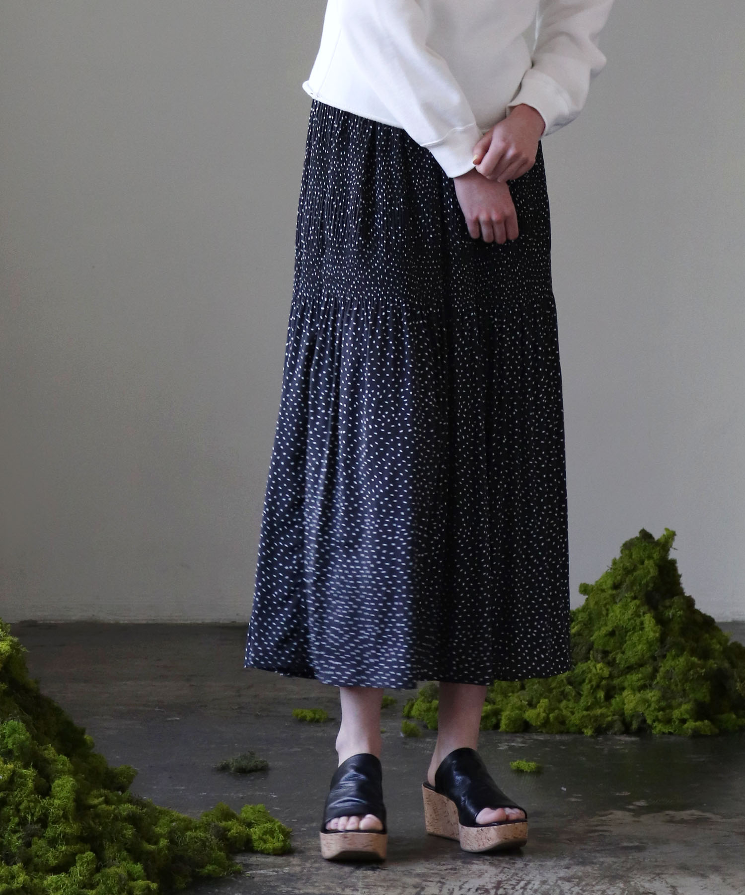 <Sugar Rose>dot gather pleat skirt