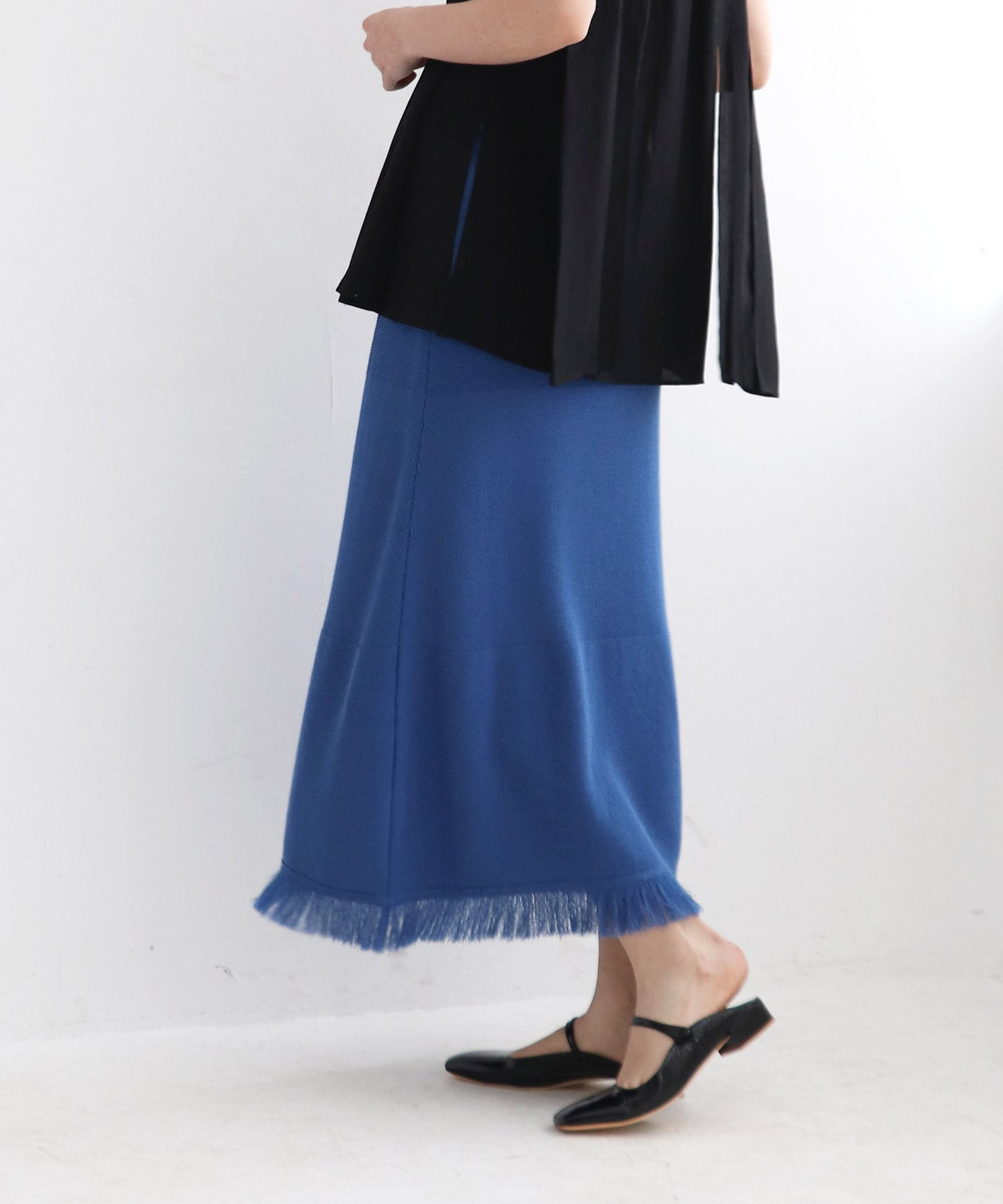 <Sugar Rose>fringe knit skirt
