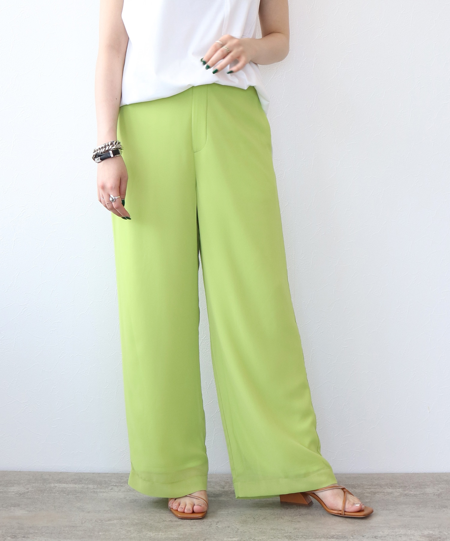 <Sguar Rose>sheer straght wide pants