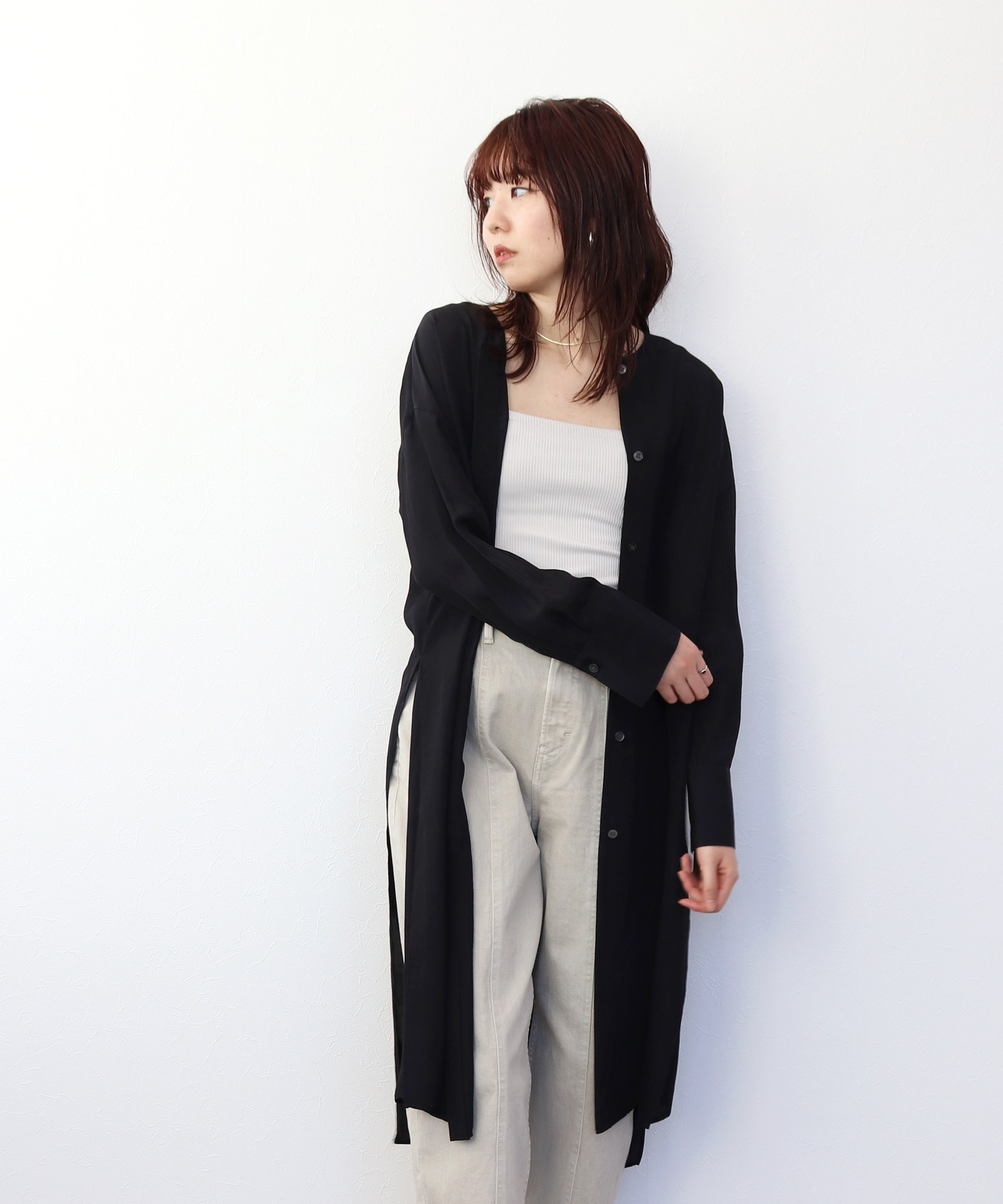 <B7>acetate slit long shirt