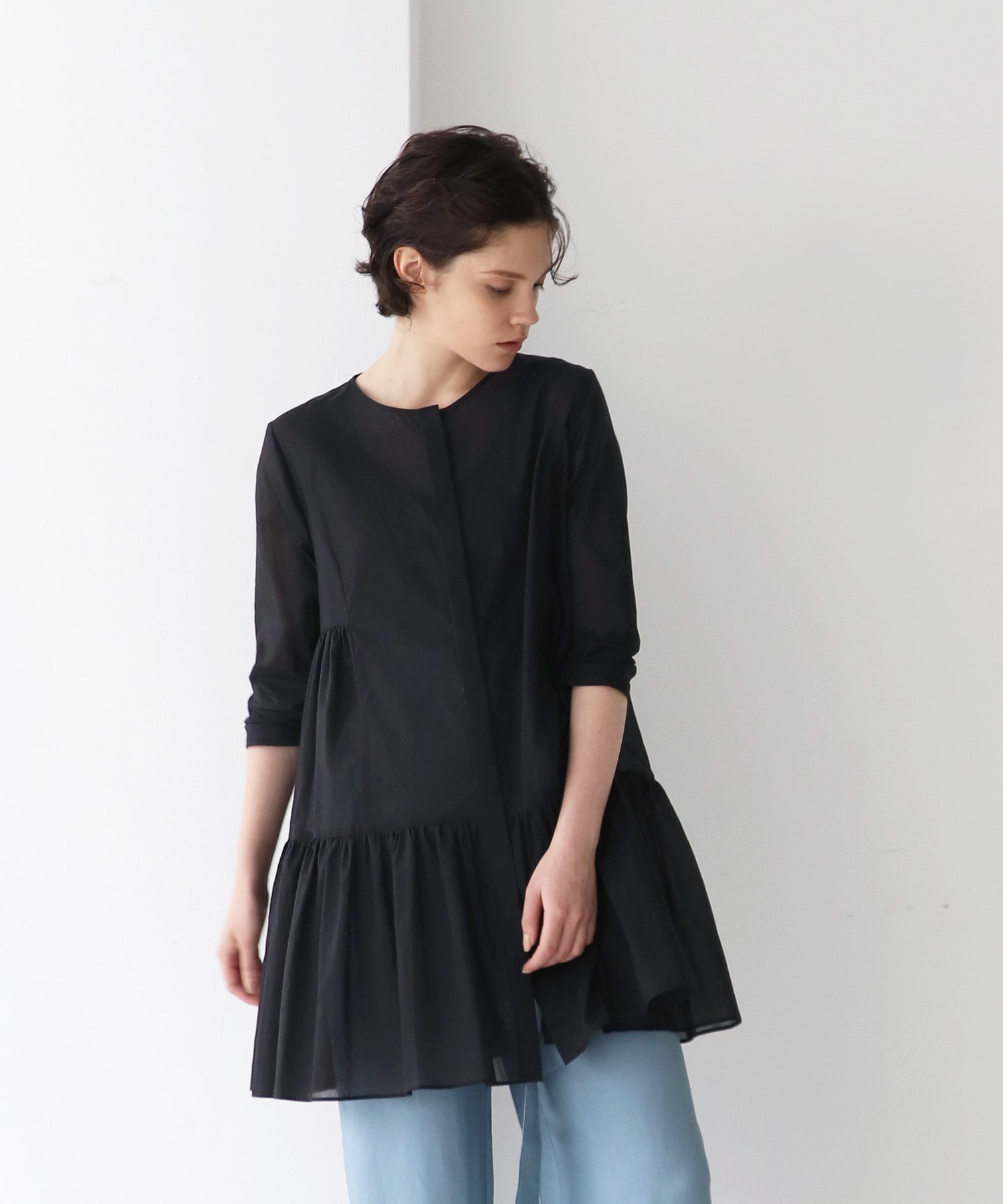 ■新色追加■<B7>vintage washer gather blouse