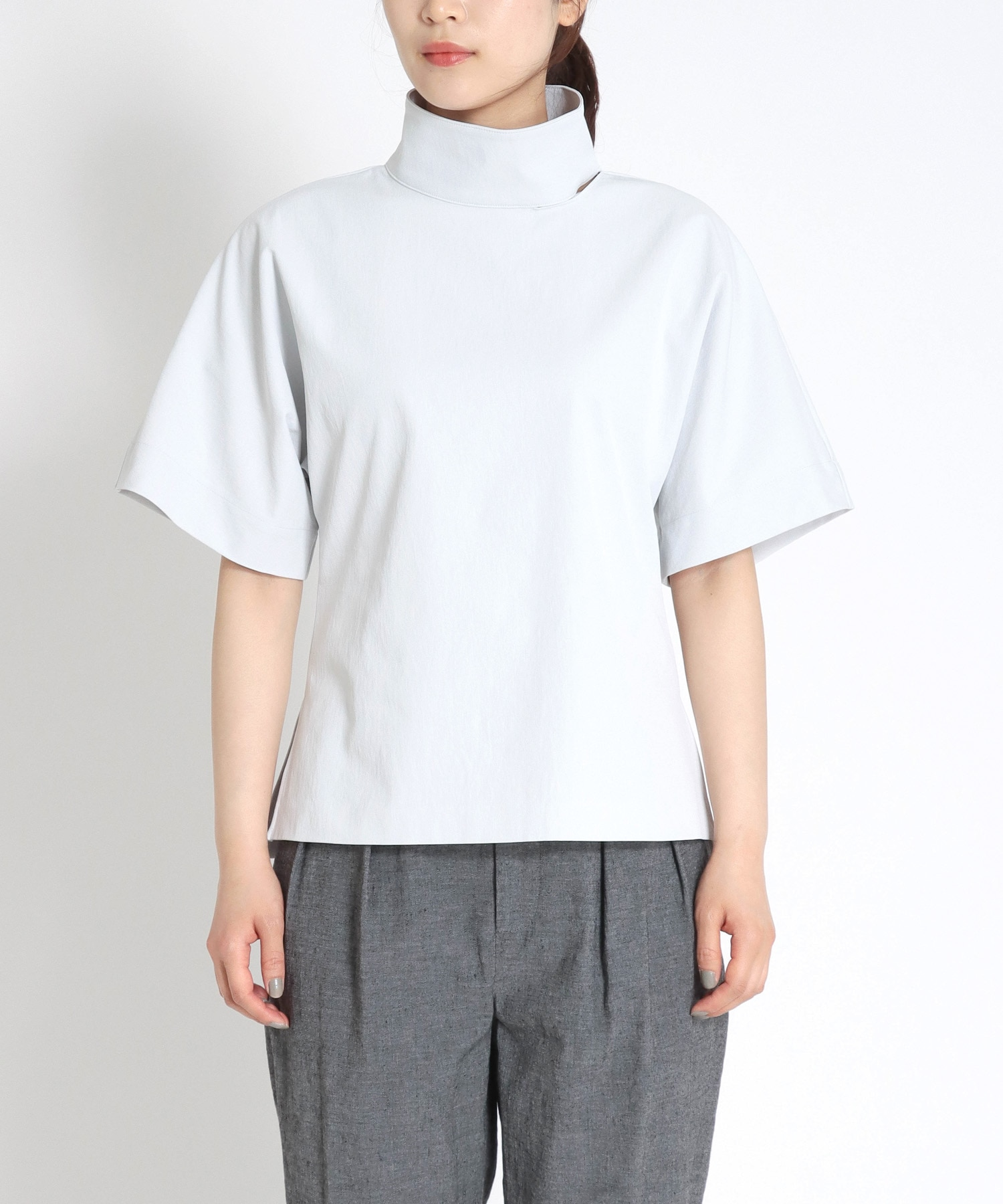 <B7>high neck short sleeve tops