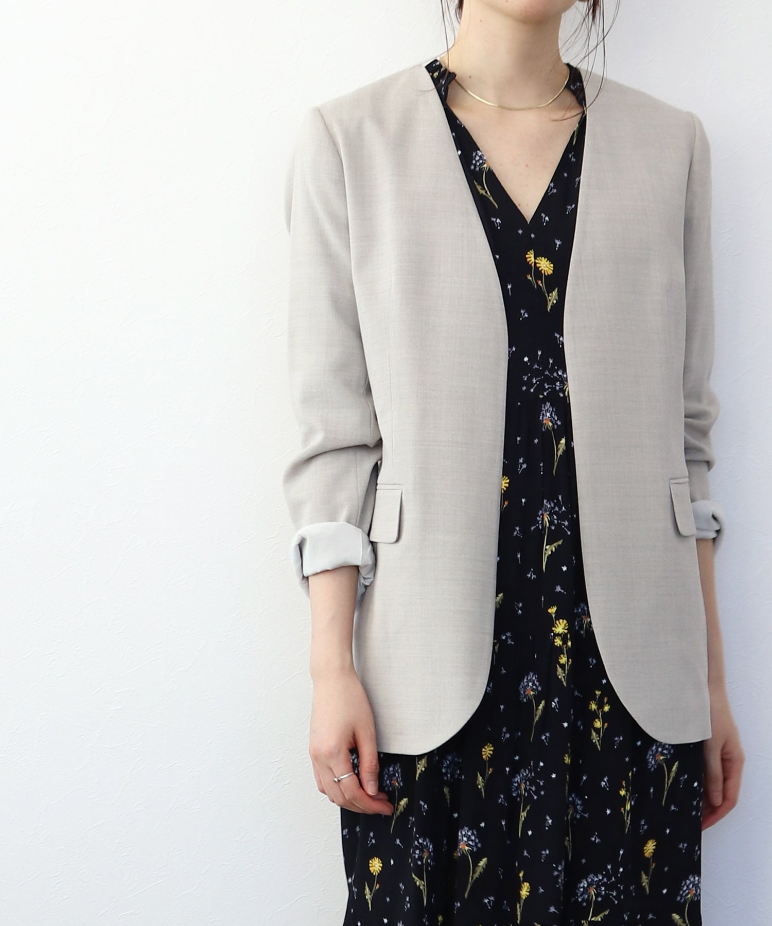 <B7>muslin no collar jacket