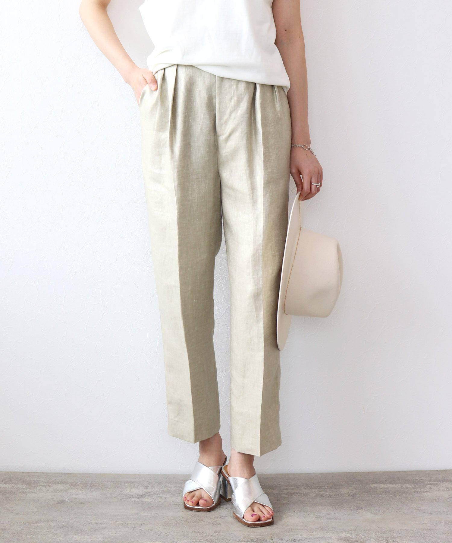 <B7>linen chintz pants