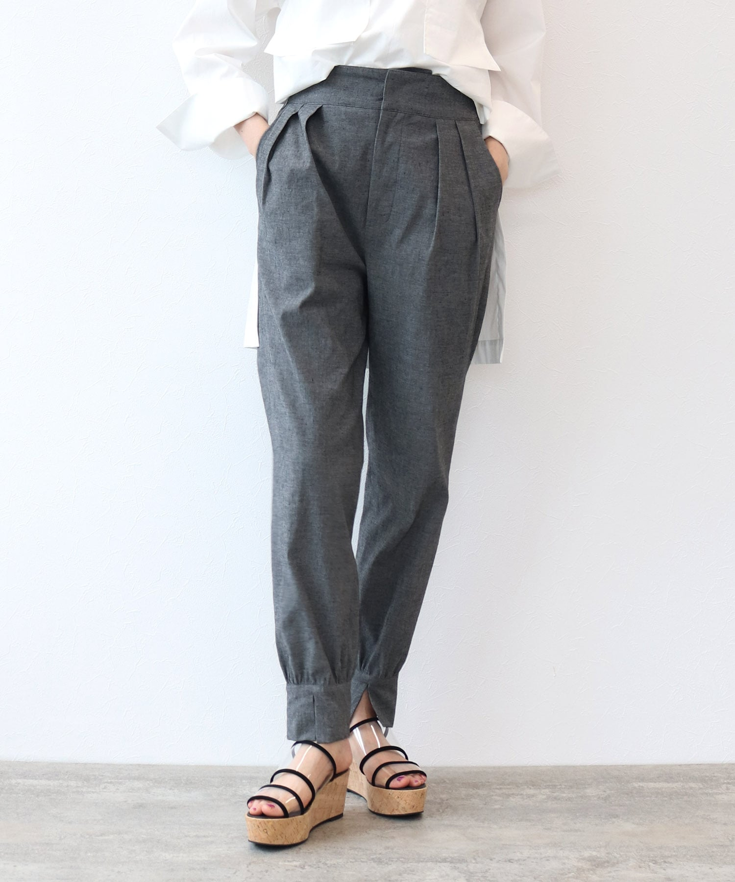 <B7>cotton linen high stretch pants