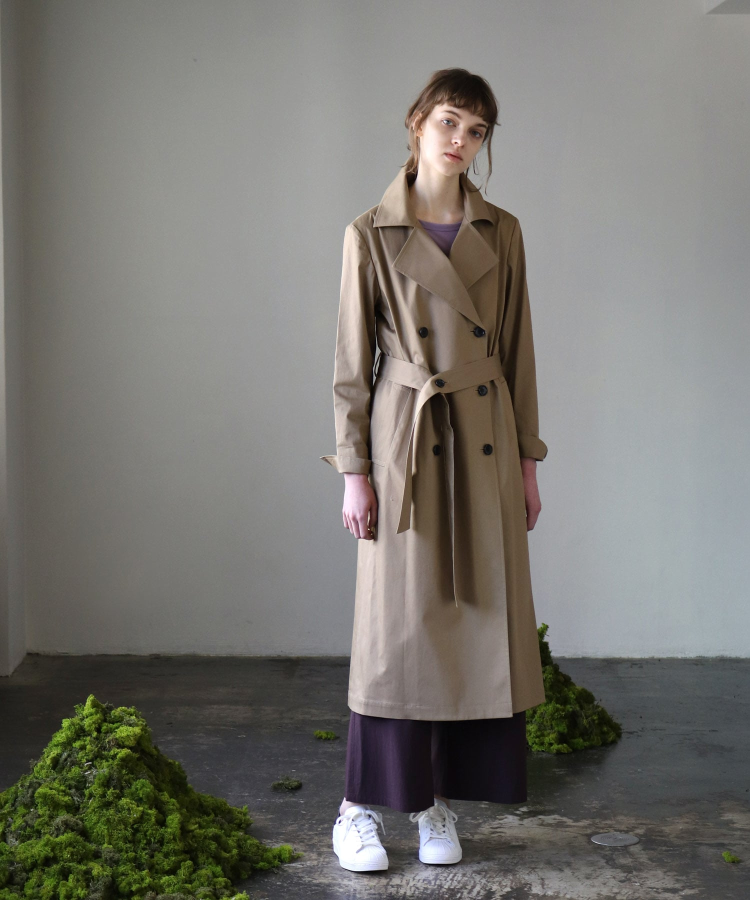 <B7>Twill stretch trench coat