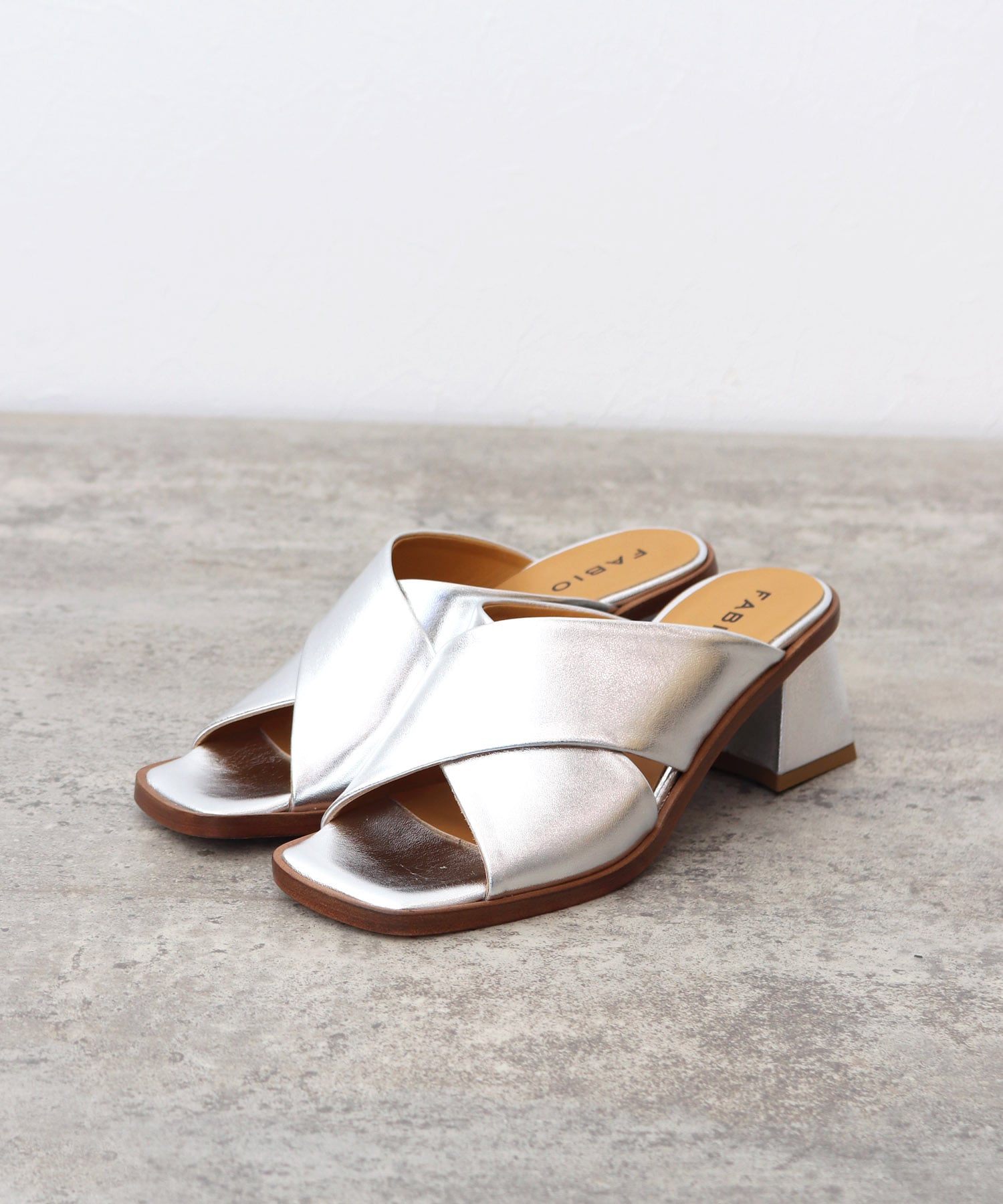 <FABIO RUSCONI>GABRY silver leather cross sandals