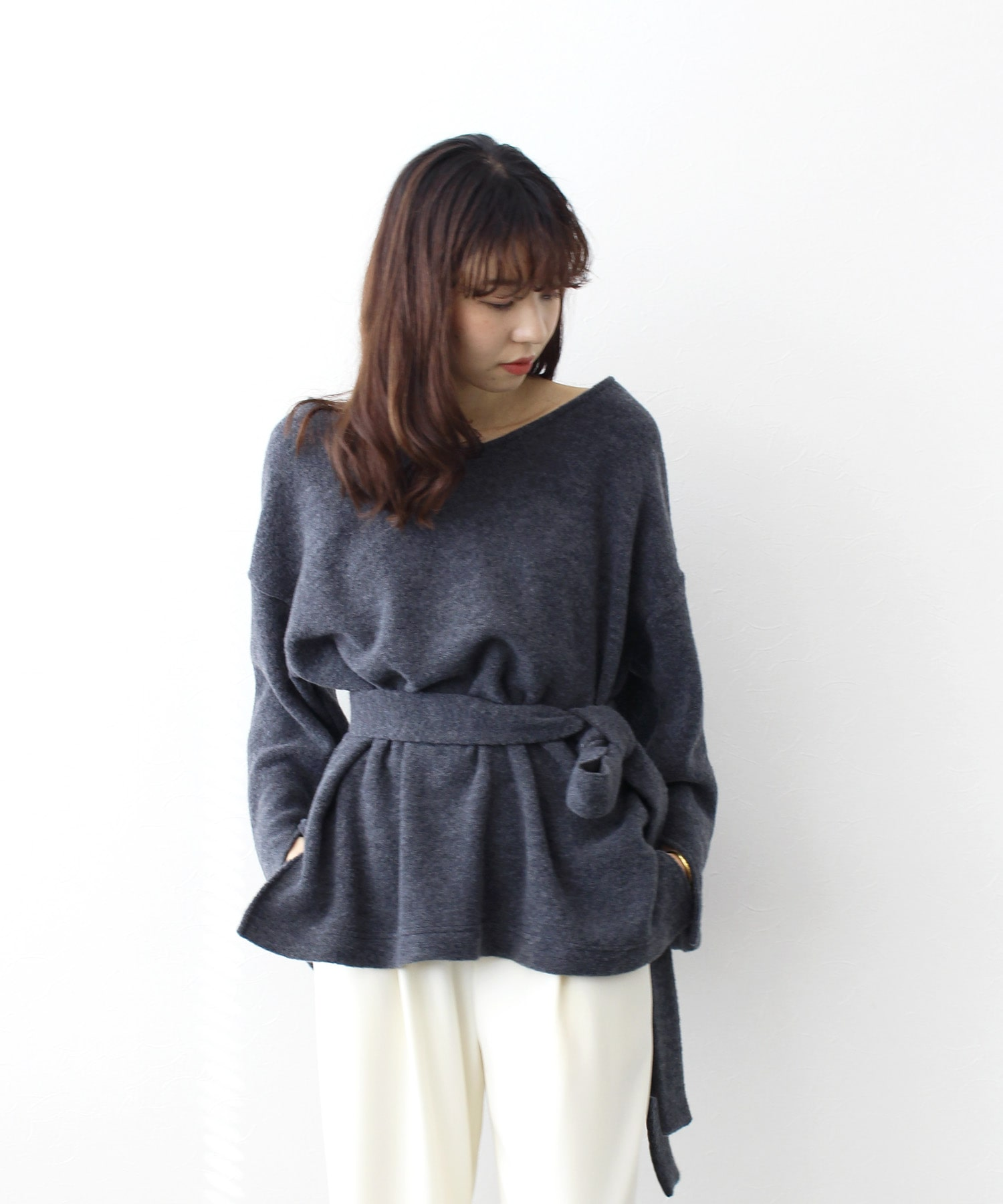 wool waist belt long pull