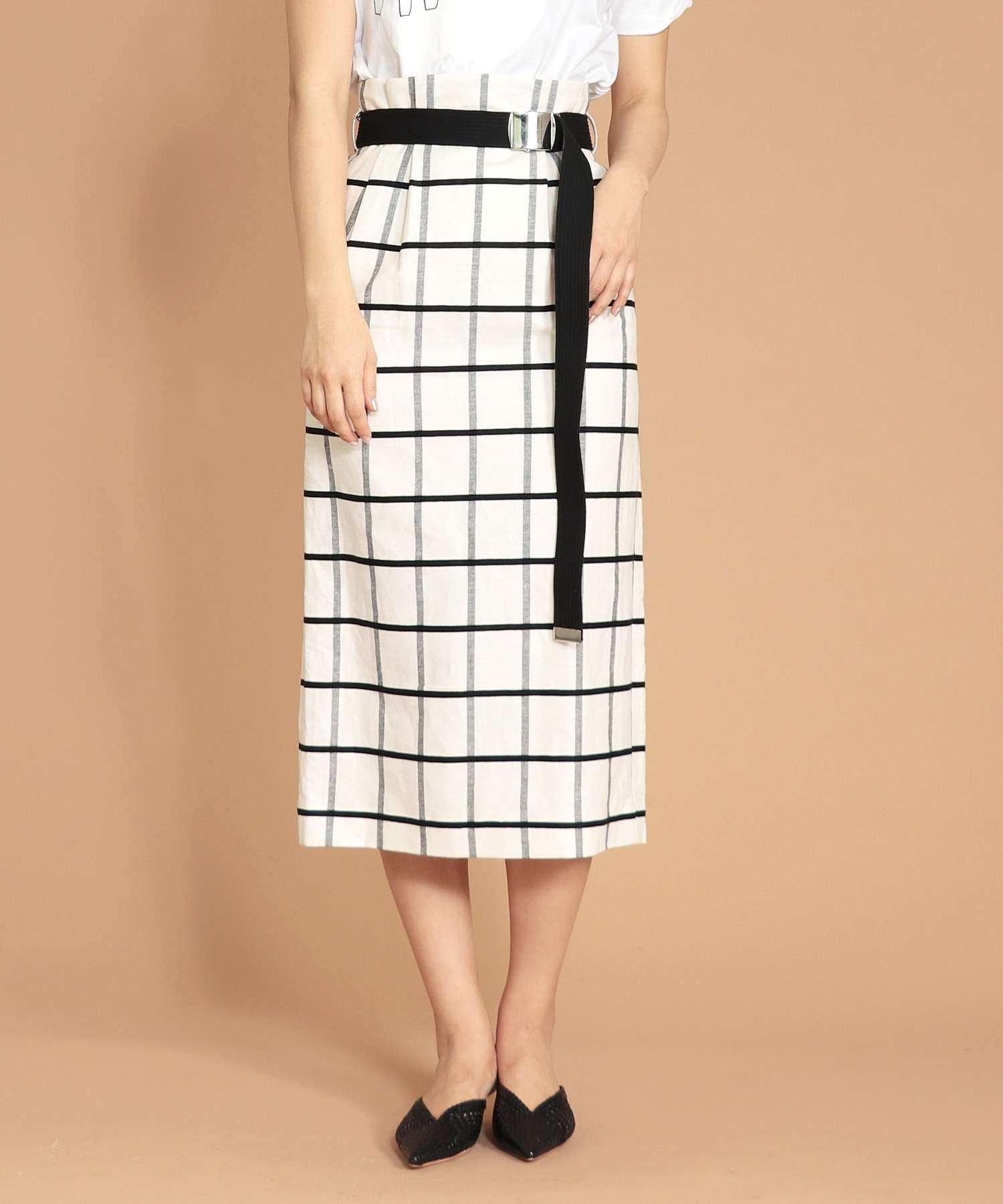sruare check GI belt skirt