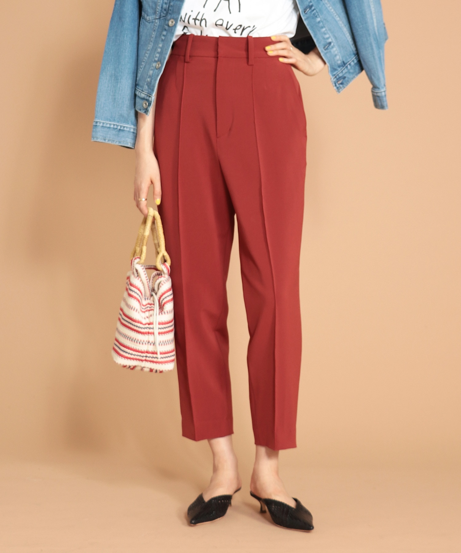 double cloth wide tapared pants