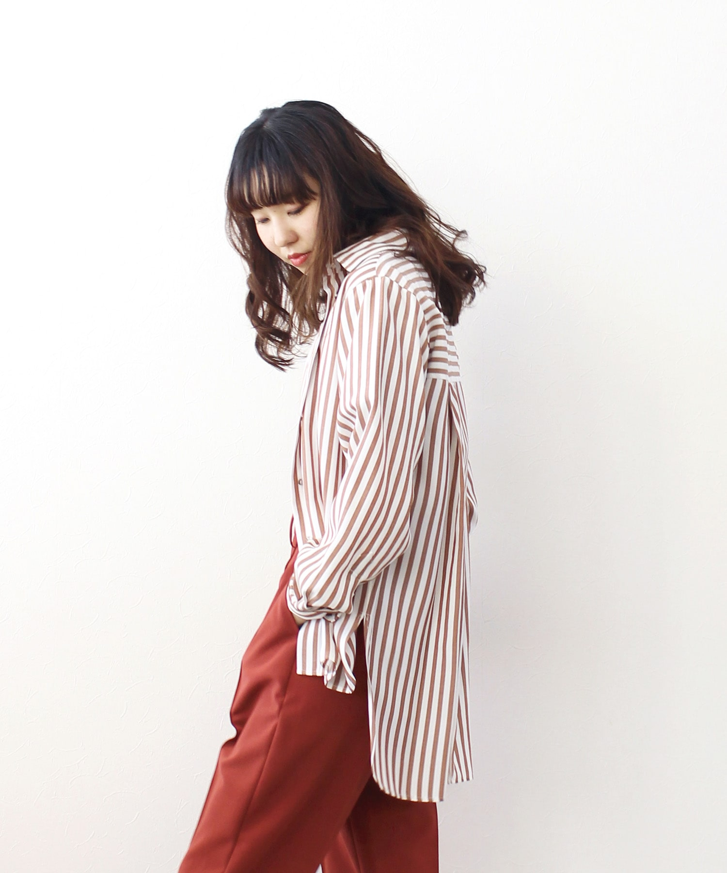 acetate stripe relax shirt