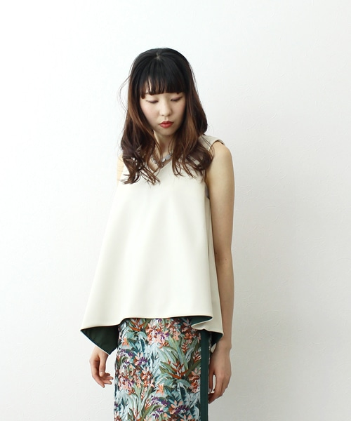 double cloth asymmetric blouse