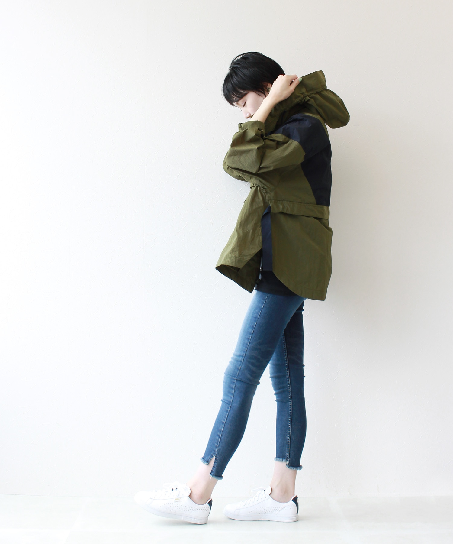 rucola color block hooded blouson