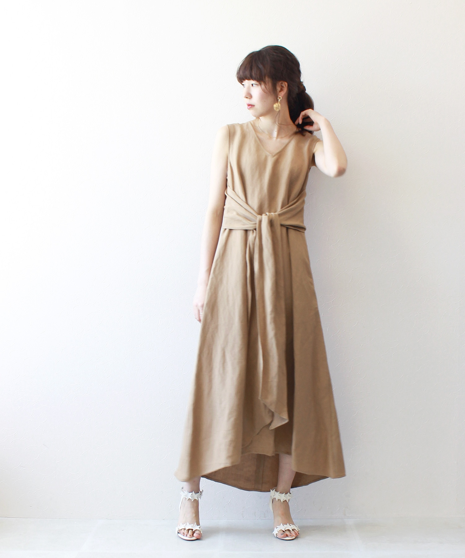 poplin waist big ribbon dress